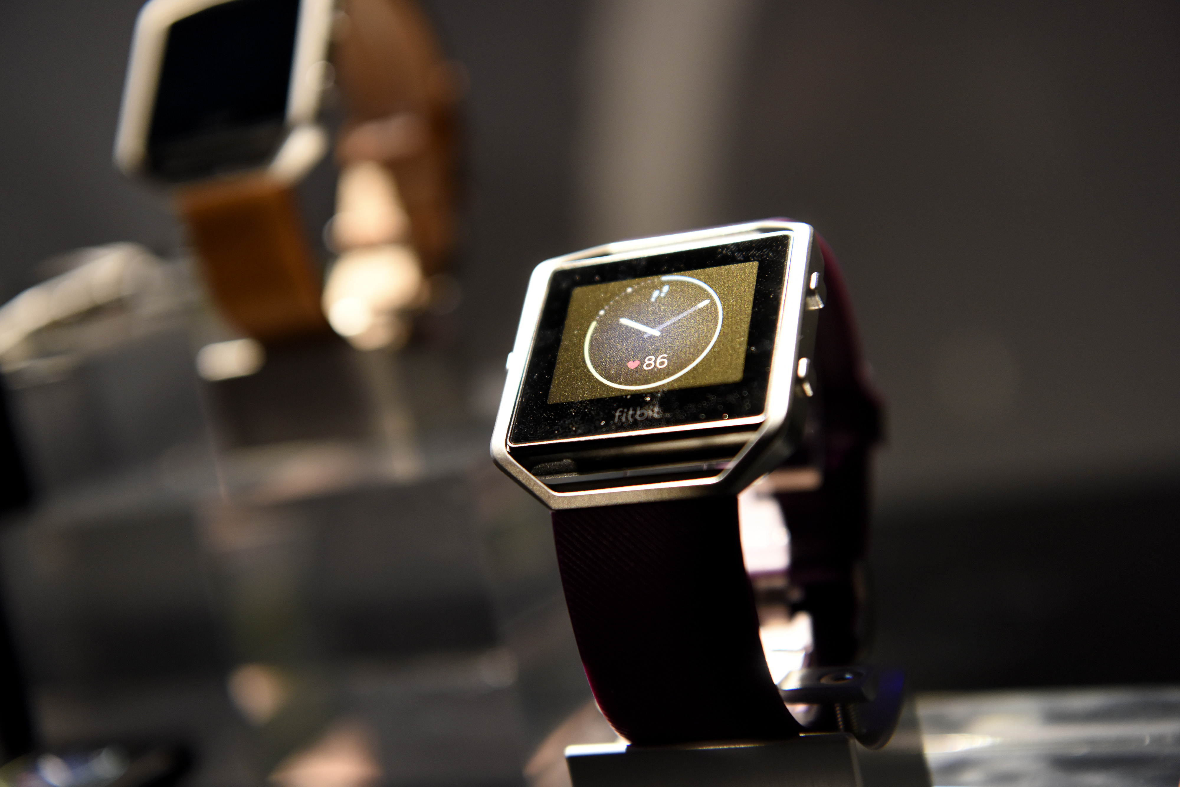 The Fitbit Inc. Blaze fitness tracker is displayed during an event at the 2016 Consumer Electronics Show (CES) in Las Vegas on Jan. 5, 2016.