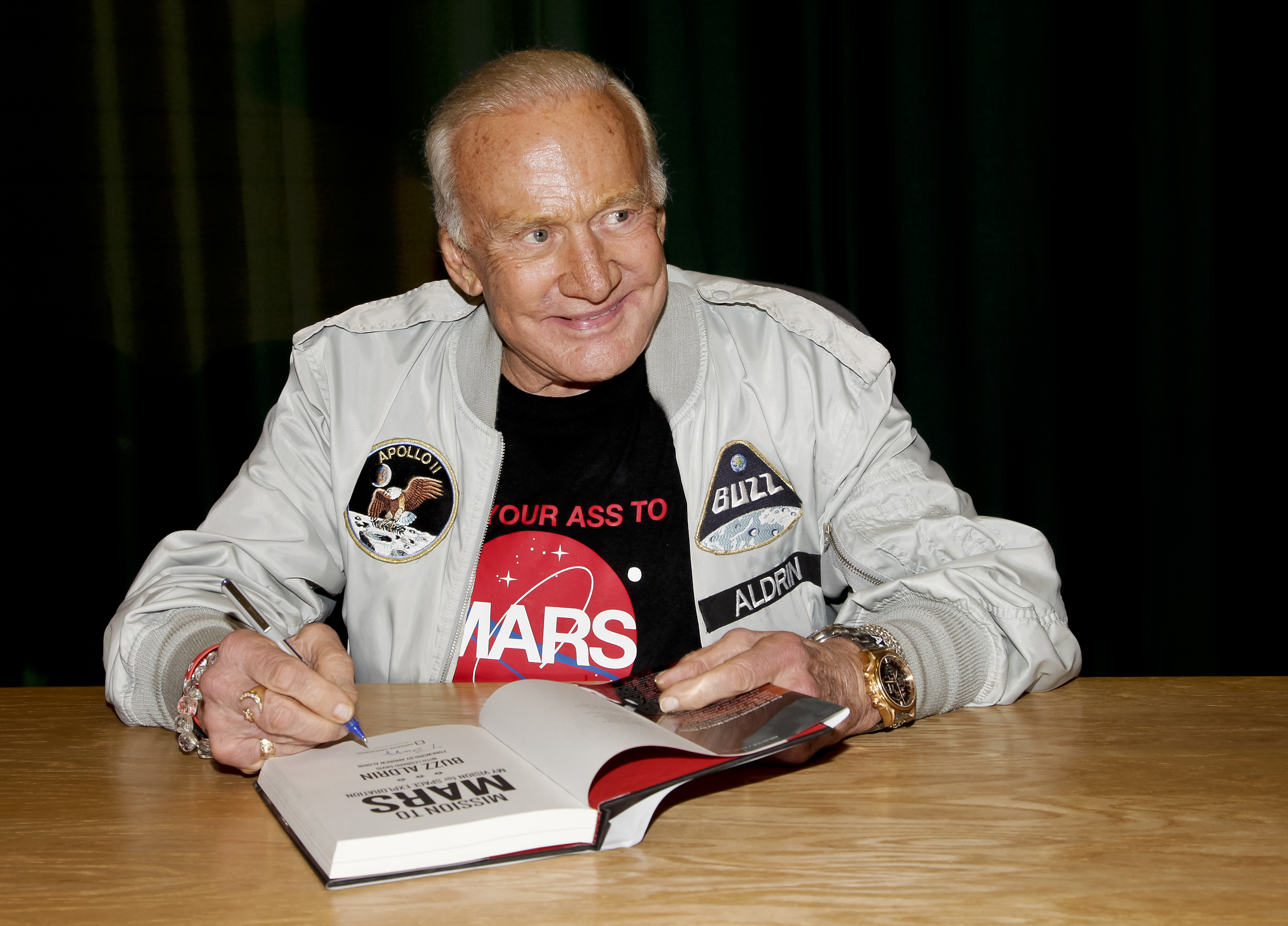 Buzz Aldrin signs copies of his book at at Barnes & Noble Booksellers Glendale, Calif. on July 28, 2014.