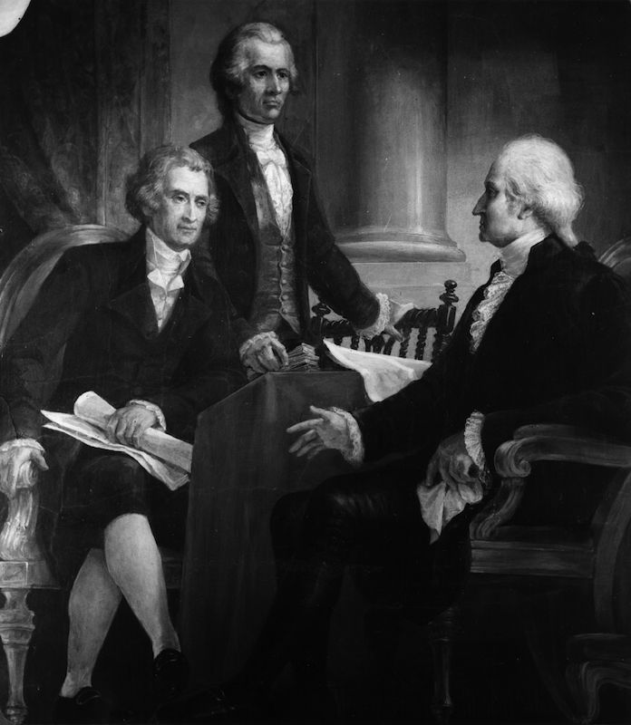 circa 1795:  An illustration of George Washington in consultation with Thomas Jefferson (seated) and Alexander Hamilton