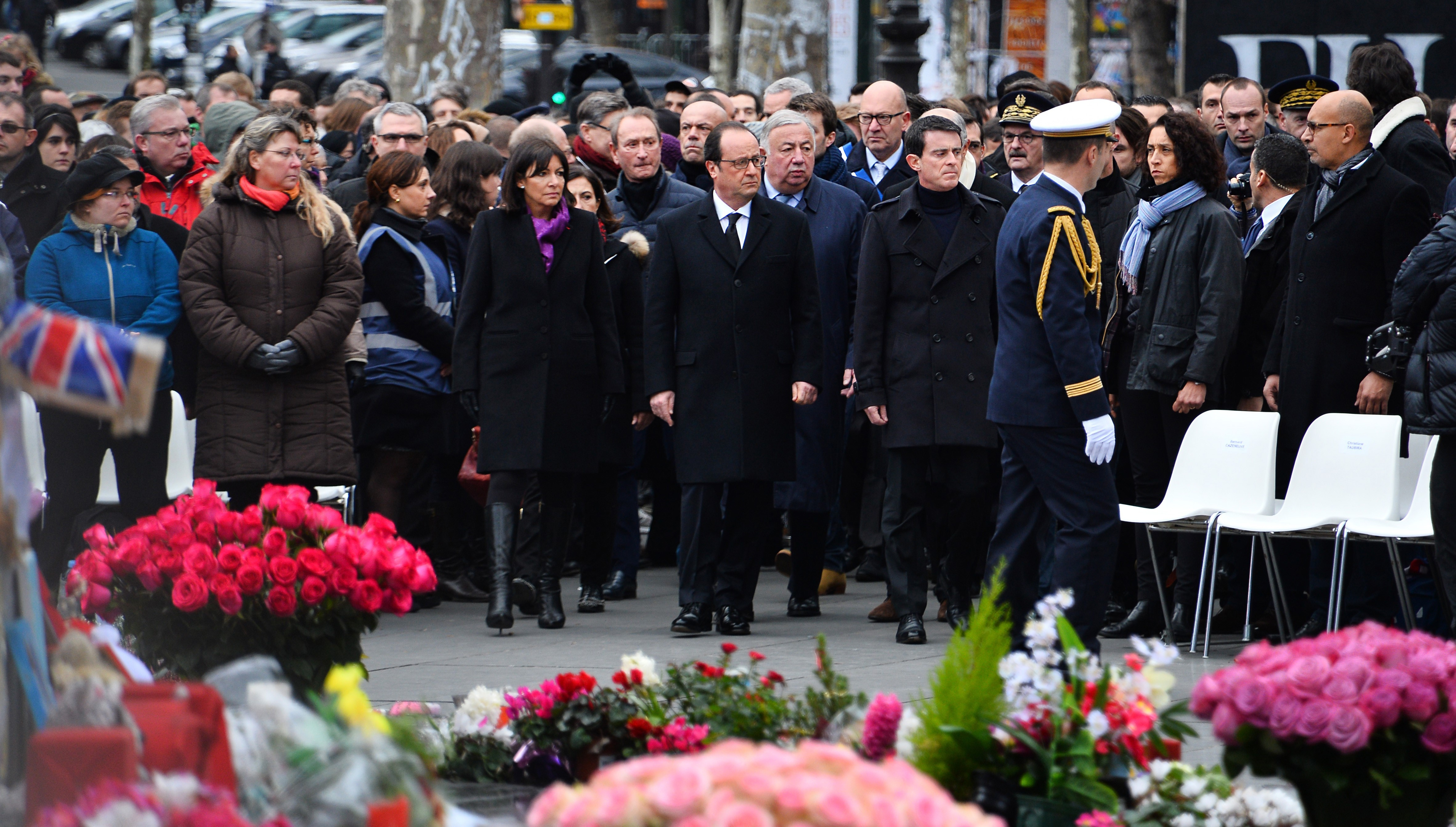 French President Francois Hollande attends a commemoration ceremony rally for Charlie Hebdo attack, at Place de la Republique in Paris on Jan. 10, 2016.