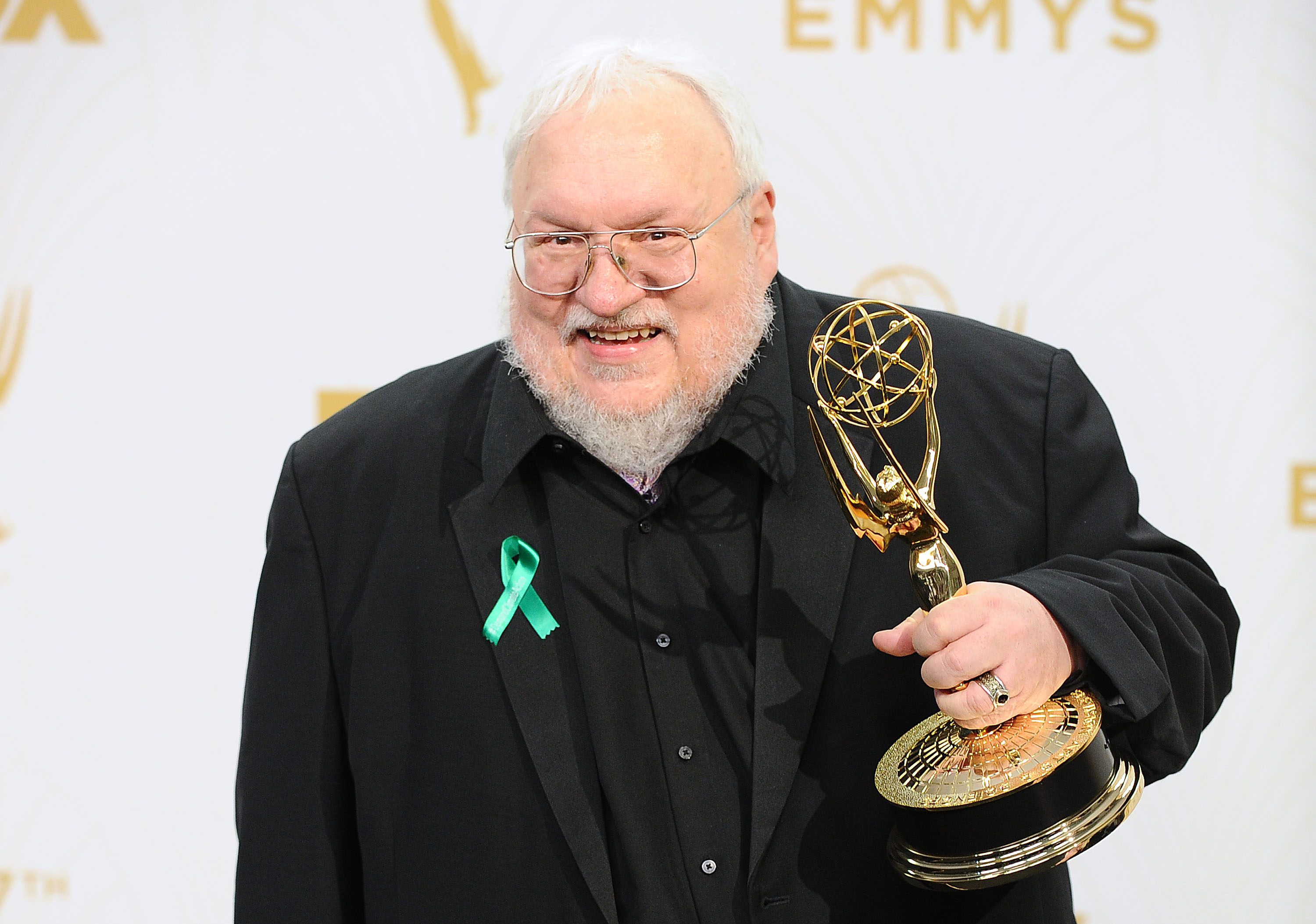 George R.R. Martin poses in the press room at the 67th annual Primetime Emmy Awards at Microsoft Theater in Los Angeles on Sept. 20, 2015.