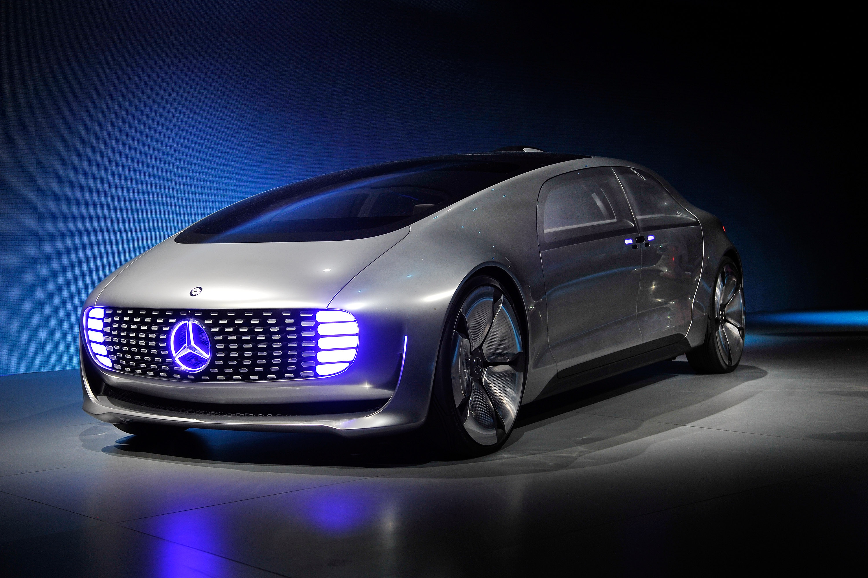 A Mercedes-Benz  F 015 autonomous driving automobile is displayed at the Mercedes-Benz press event at The Chelsea at The Cosmopolitan of Las Vegas for the 2015 International CES on January 5, 2015 in Las Vegas, Nevada.