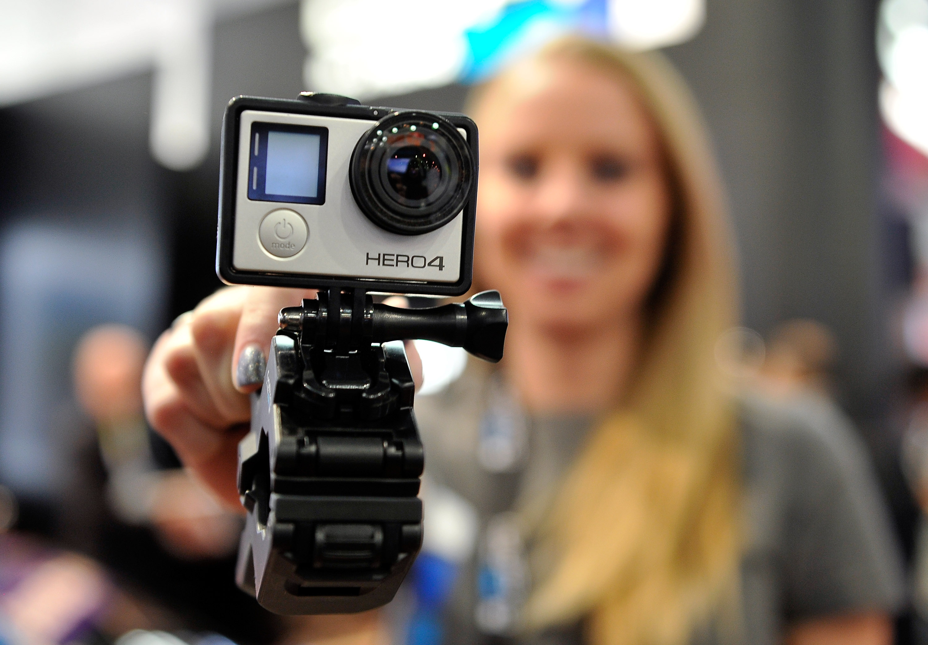 A GoPro Hero 4 camera is displayed at the 2015 International CES at the Las Vegas Convention Center on January 6, 2015 in Las Vegas, Nevada.