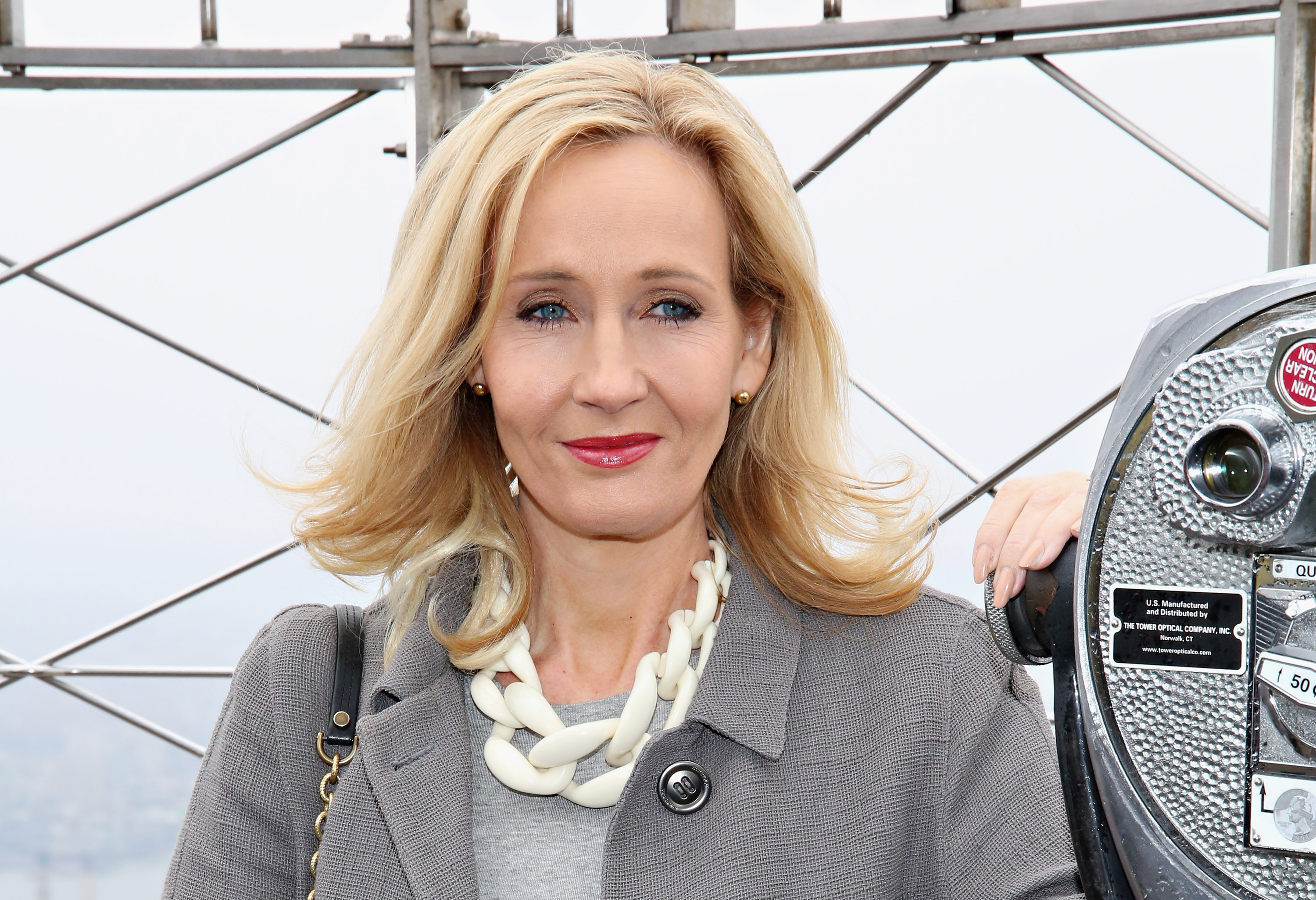 Author J.K. Rowling marks the US launch of her non-profit organization at The Empire State Building on April 9, 2015 in New York City.