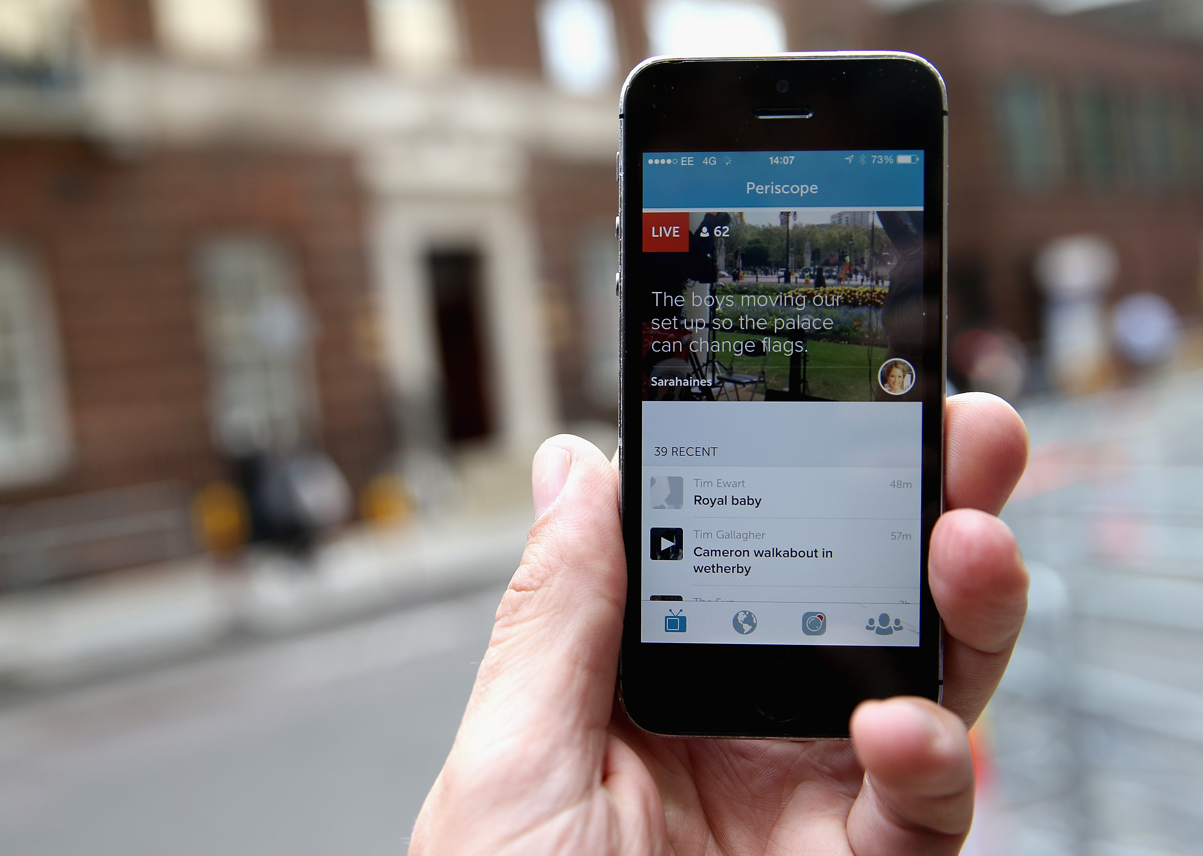 Links to clips related to the new royal baby are seen on the app Periscope at the Lindo wing as the World's media wait for Catherine, Duchess of Cambridge to go into labour at St Mary's Hospital on April 30, 2015 in London, England.