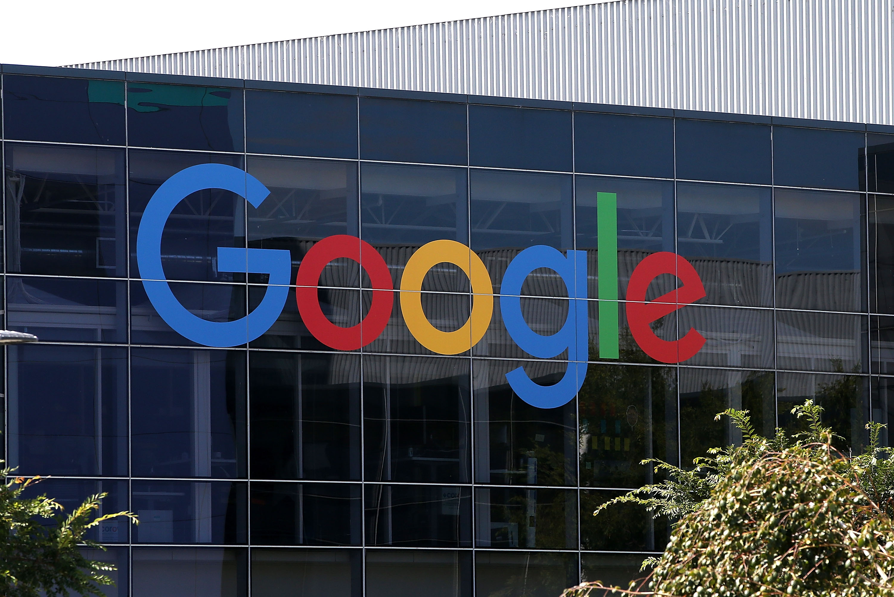 The new Google logo is displayed at the Google headquarters in Mountain View, Calif., on Sept. 2, 2015.
