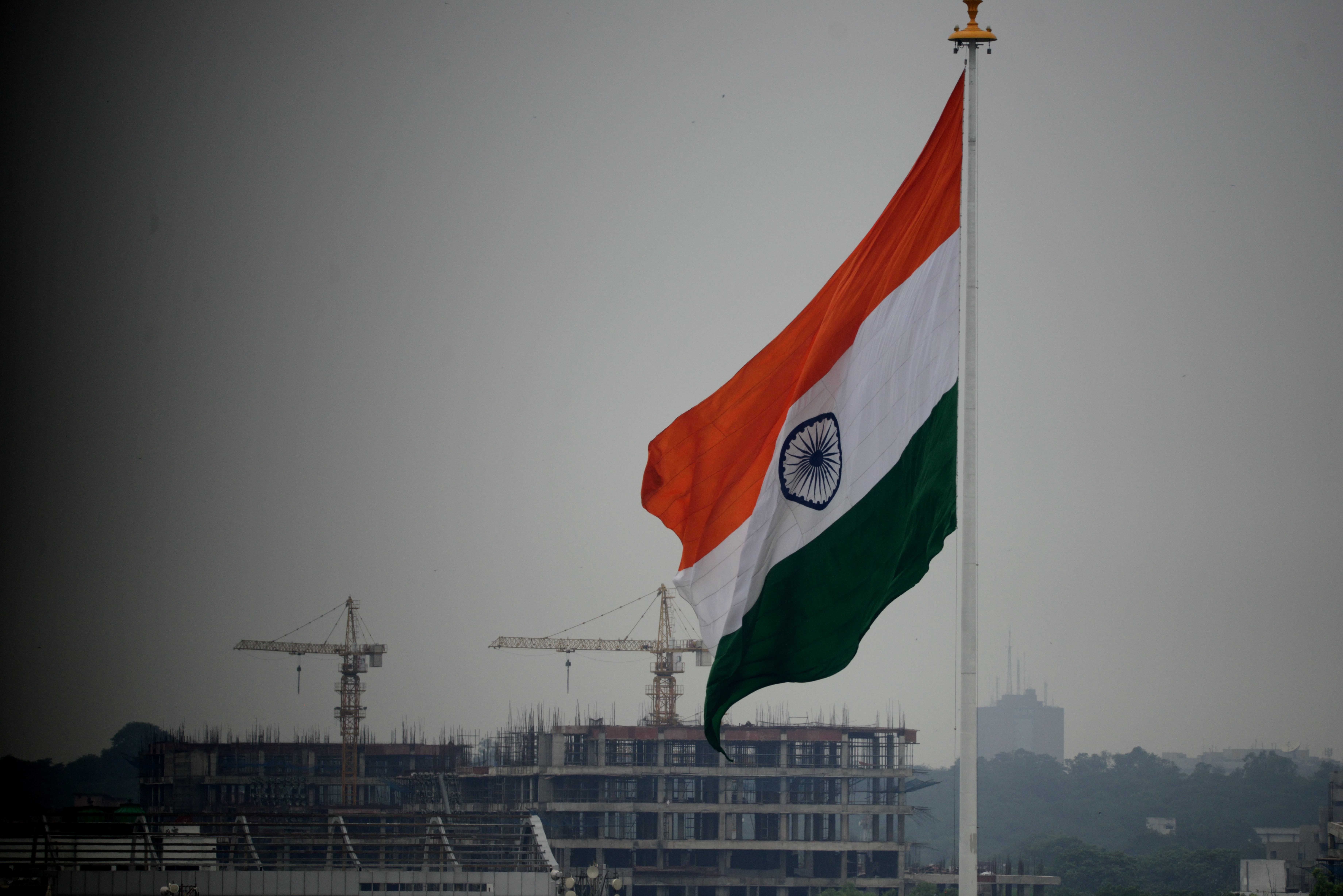 Indian national flag at Central Park, Connaught Place on August 8, 2014 in New Delhi, India.