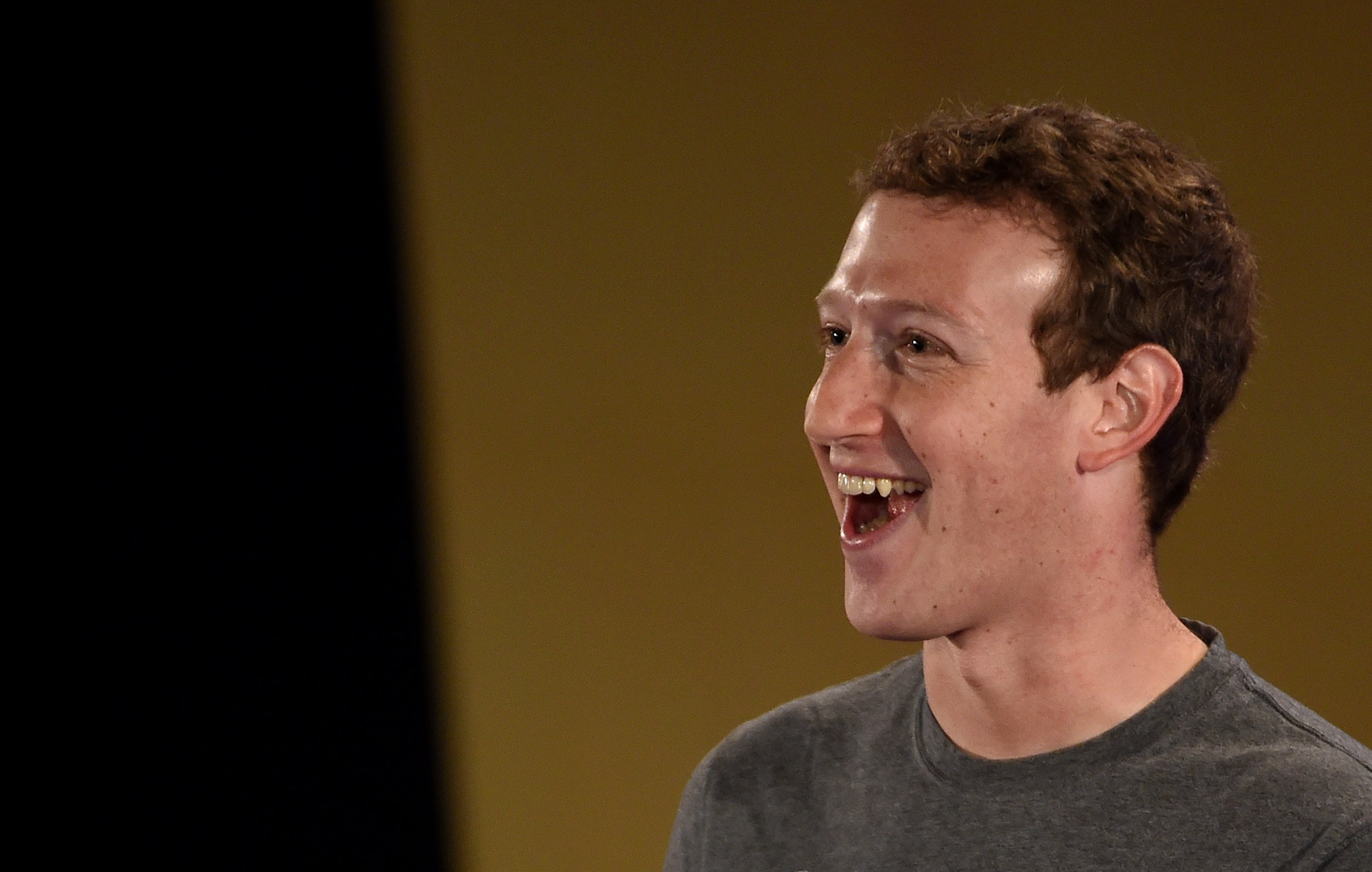Facebook chief executive and founder Mark Zuckerberg speaks during a 'town-hall' meeting at the Indian Institute of Technology (IIT) in New Delhi on October 28, 2015.