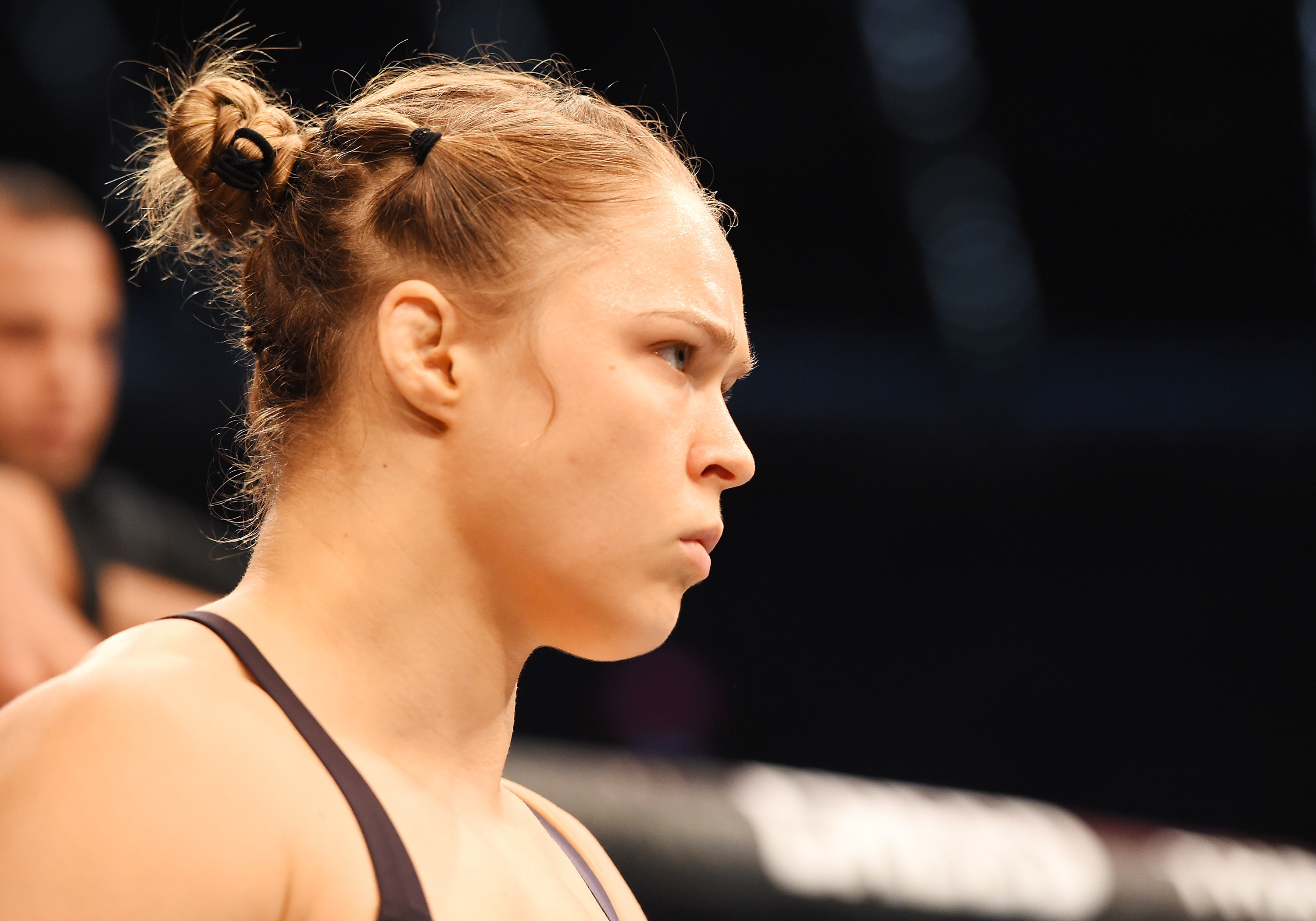 MELBOURNE, AUSTRALIA - NOVEMBER 15:  Ronda Rousey looks on before facing Holly Holm (not pictured) in their UFC women's bantamweight championship bout during the UFC 193 event at Etihad Stadium on November 15, 2015 in Melbourne, Australia.  (Photo by Josh Hedges/Zuffa LLC/Zuffa LLC via Getty Images)