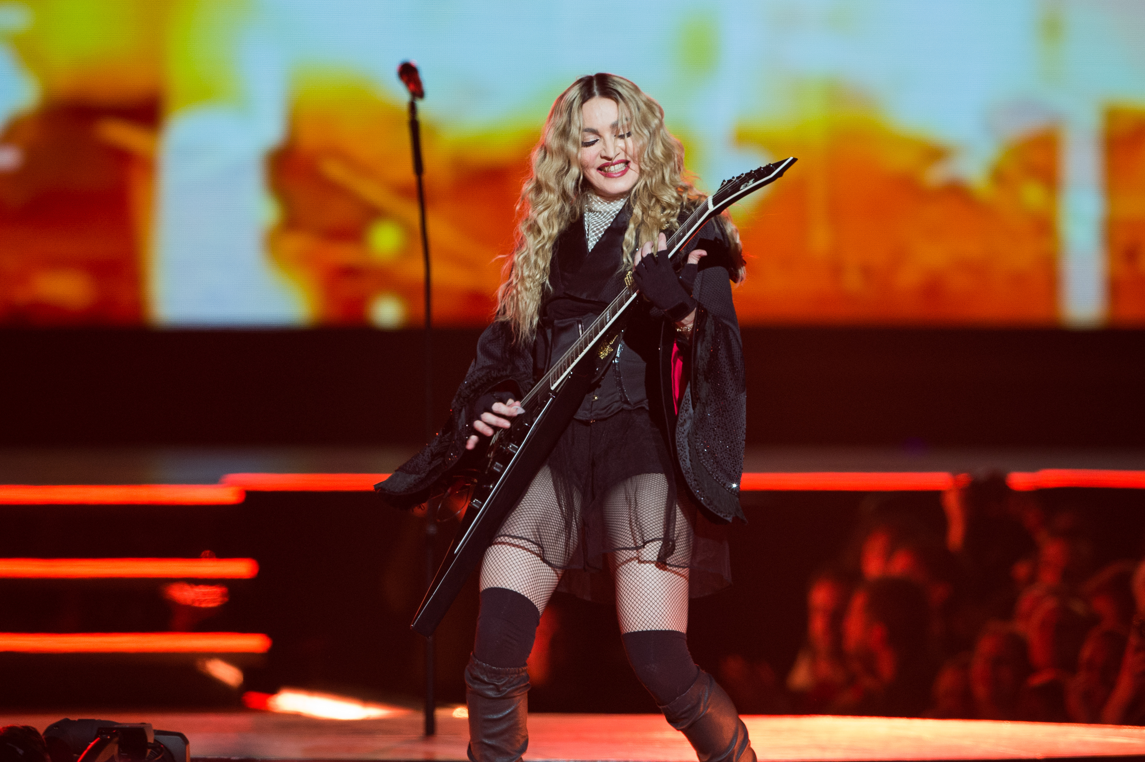 Madonna performs at AccorHotels Arena on December 9, 2015 in Paris, France.