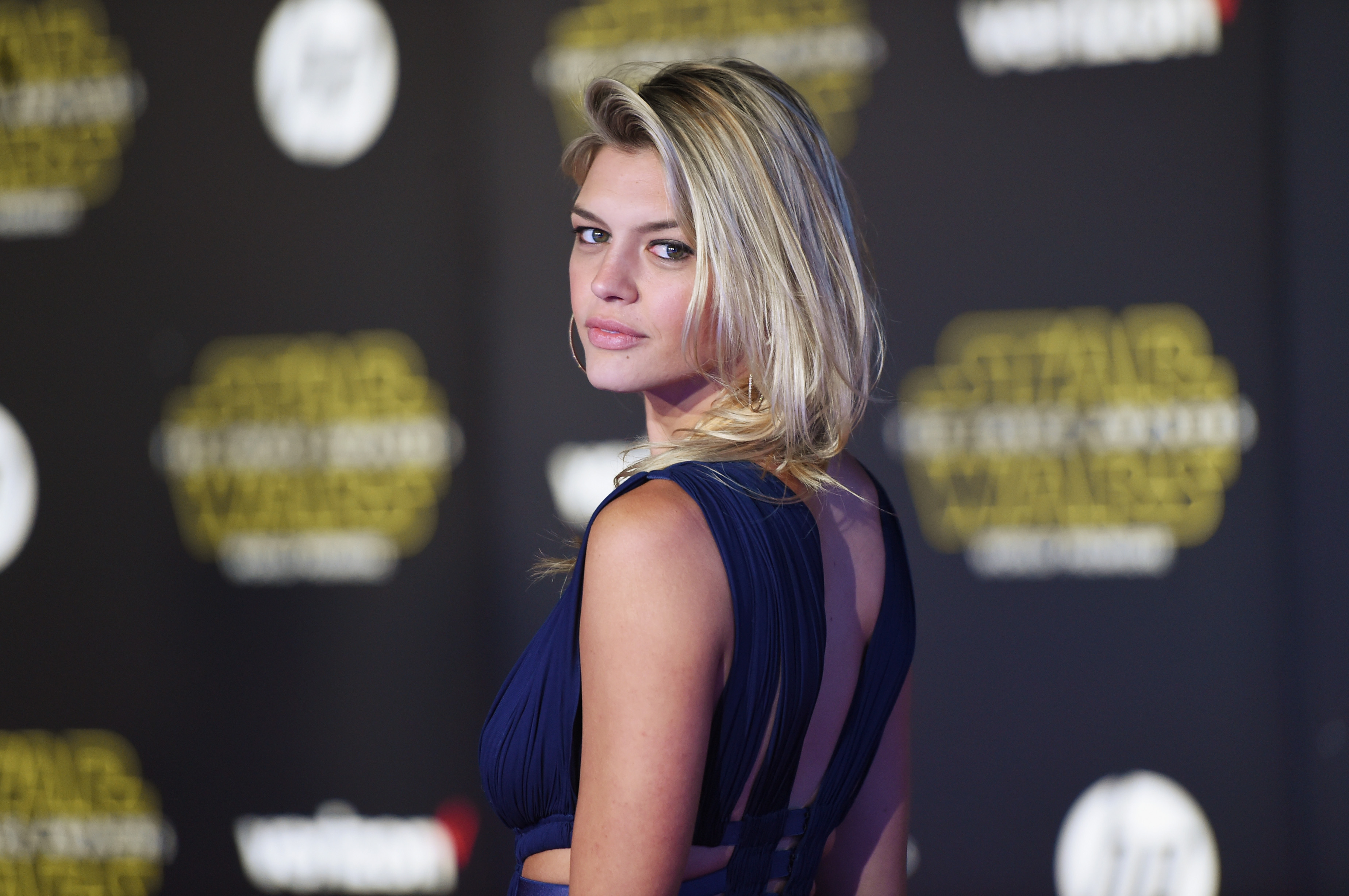 Model Kelly Rohrbach attends the premiere of Walt Disney Pictures and Lucasfilm's  Star Wars: The Force Awakens  in Hollywood, Calif. on December 14, 2015.