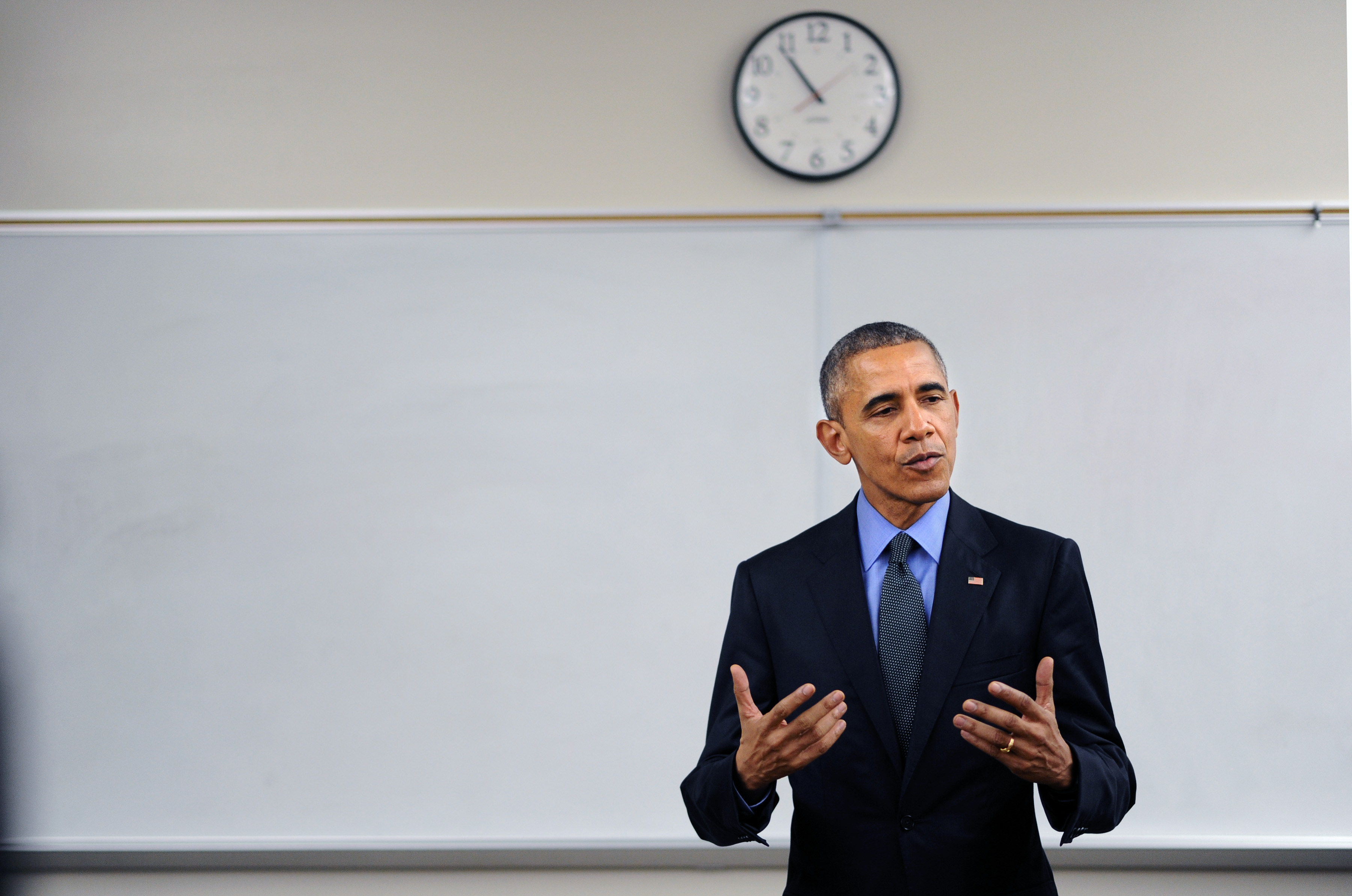 U.S. President Barack Obama speaks to the media at Indian Springs High School on Dec. 18, 2015, in San Bernardino, Calif. Obama was in town to meet privately with the families of the victims of the San Bernardino terrorist attack