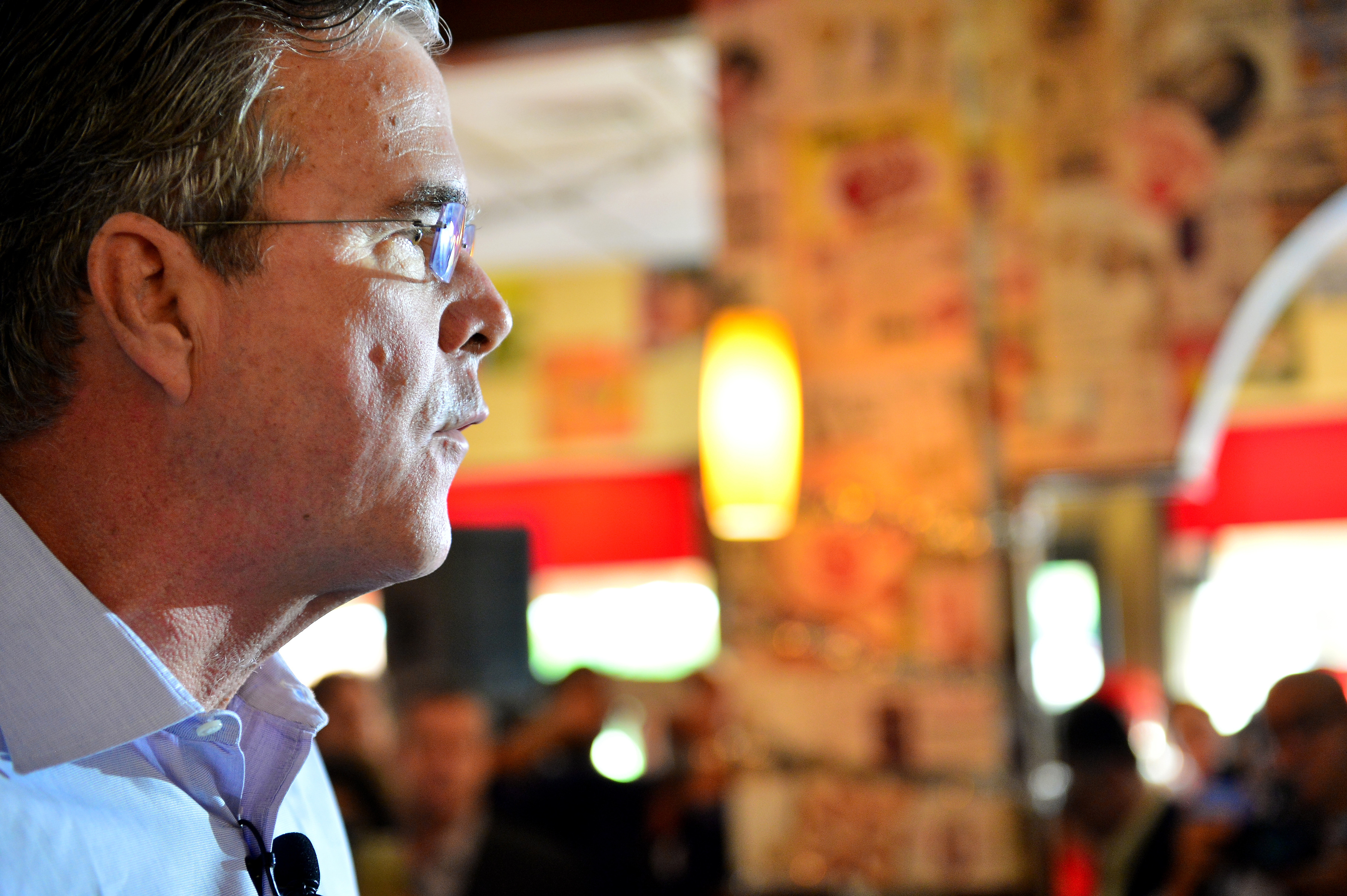 Republican presidential candidate and former Florida Governor Jeb Bush holds a meet and greet at Chico's Restaurant on December 28, 2015 in Hialeah, Florida. Mr. Bush continues to campaign for his parties' nomination as the presidential candidate. on December 28, 2015 in Miami, Florida.