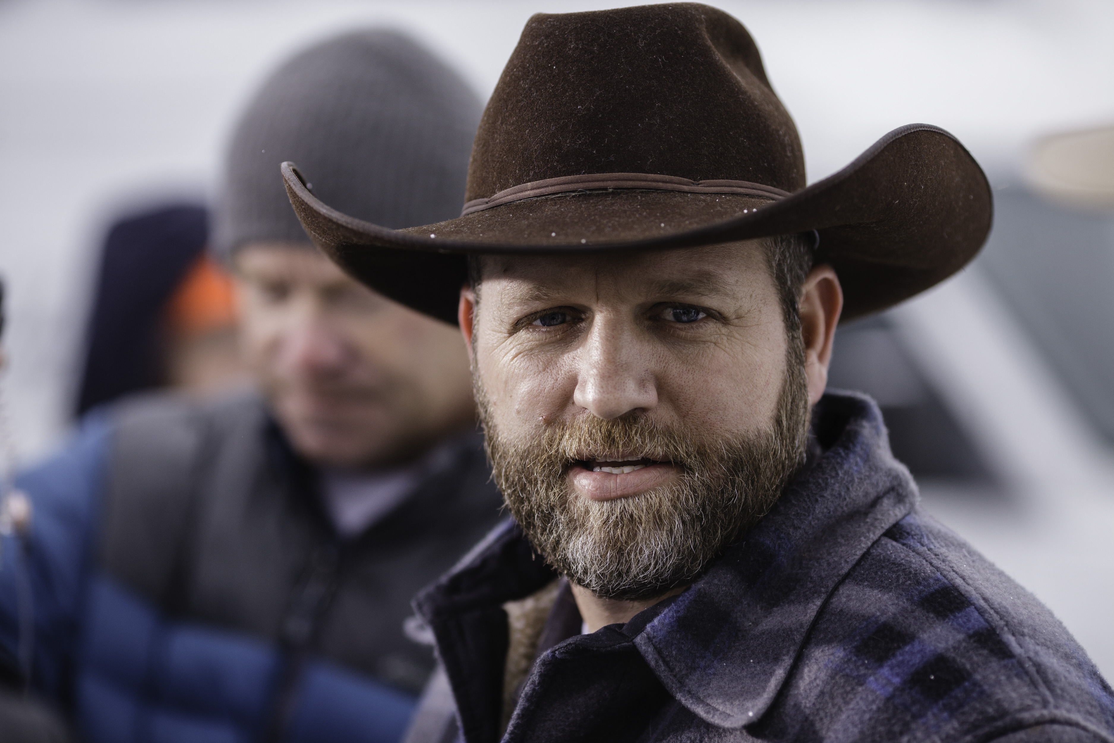Ammon Bundy, leader of an armed anti-government militia, speaks at a news conference at the entrance to the Malheur National Wildlife Refuge Headquarters near Burns, Oregon Jan. 5, 2016.