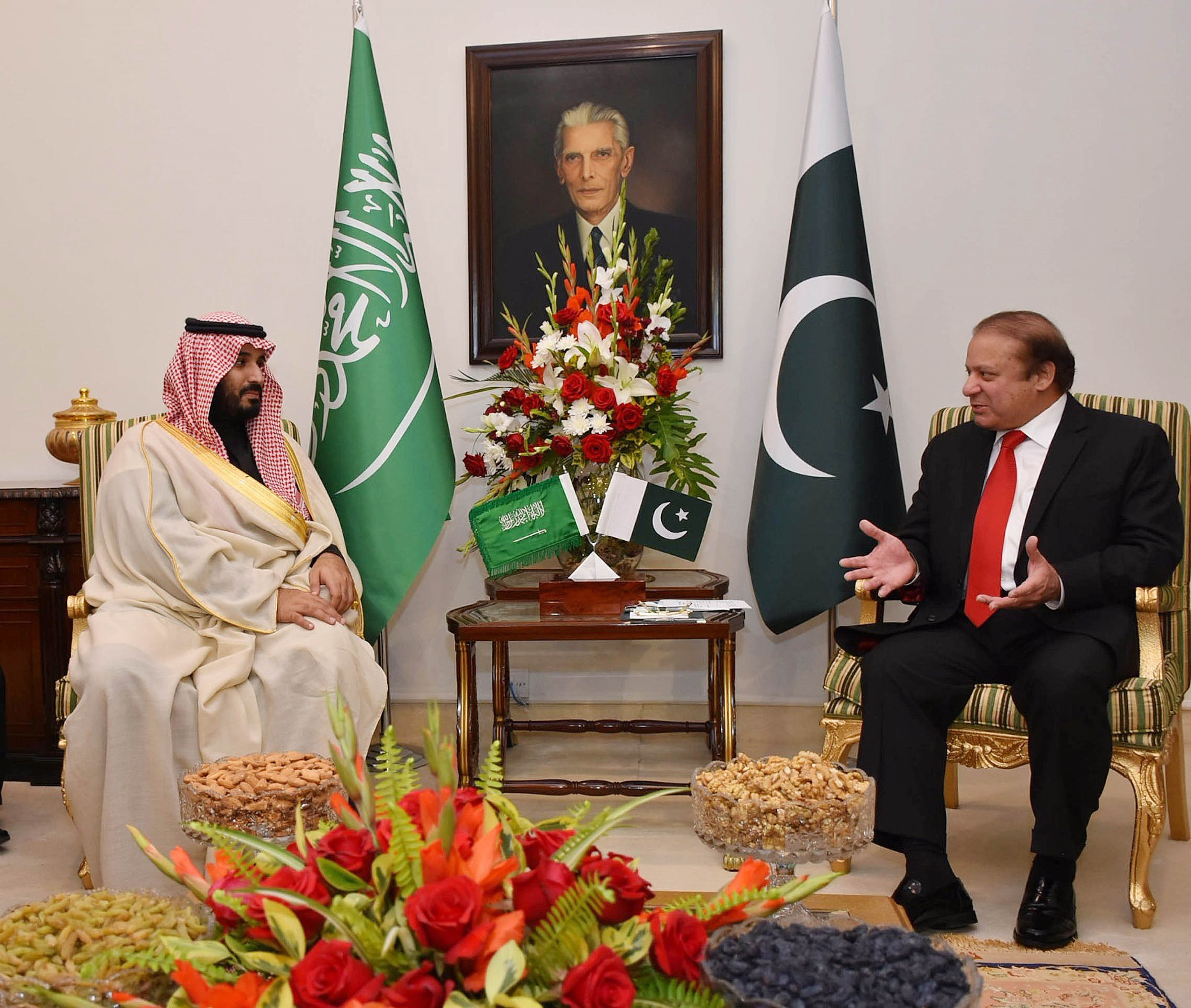 Saudi Arabia's Defense Minister Mohammed bin Salman, left, meets Pakistani Prime Minister Nawaz Sharif at the Prime Minister's Office in Islamabad on Jan. 10, 2016
