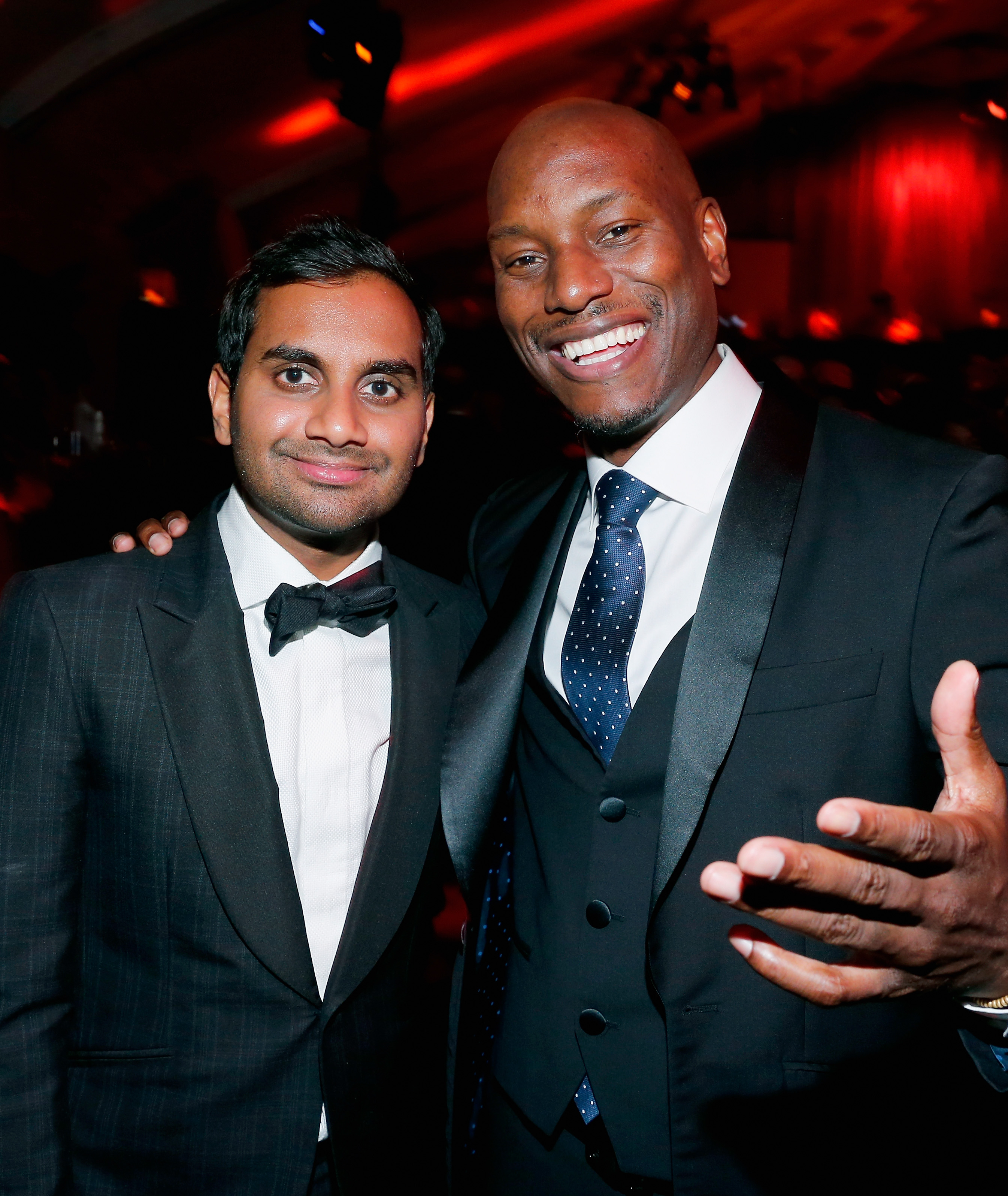 Comedian Aziz Ansari and actor Tyrese Gibson attend The Weinstein Company and Netflix Golden Globe Party on January 10, 2016 in Beverly Hills, California.