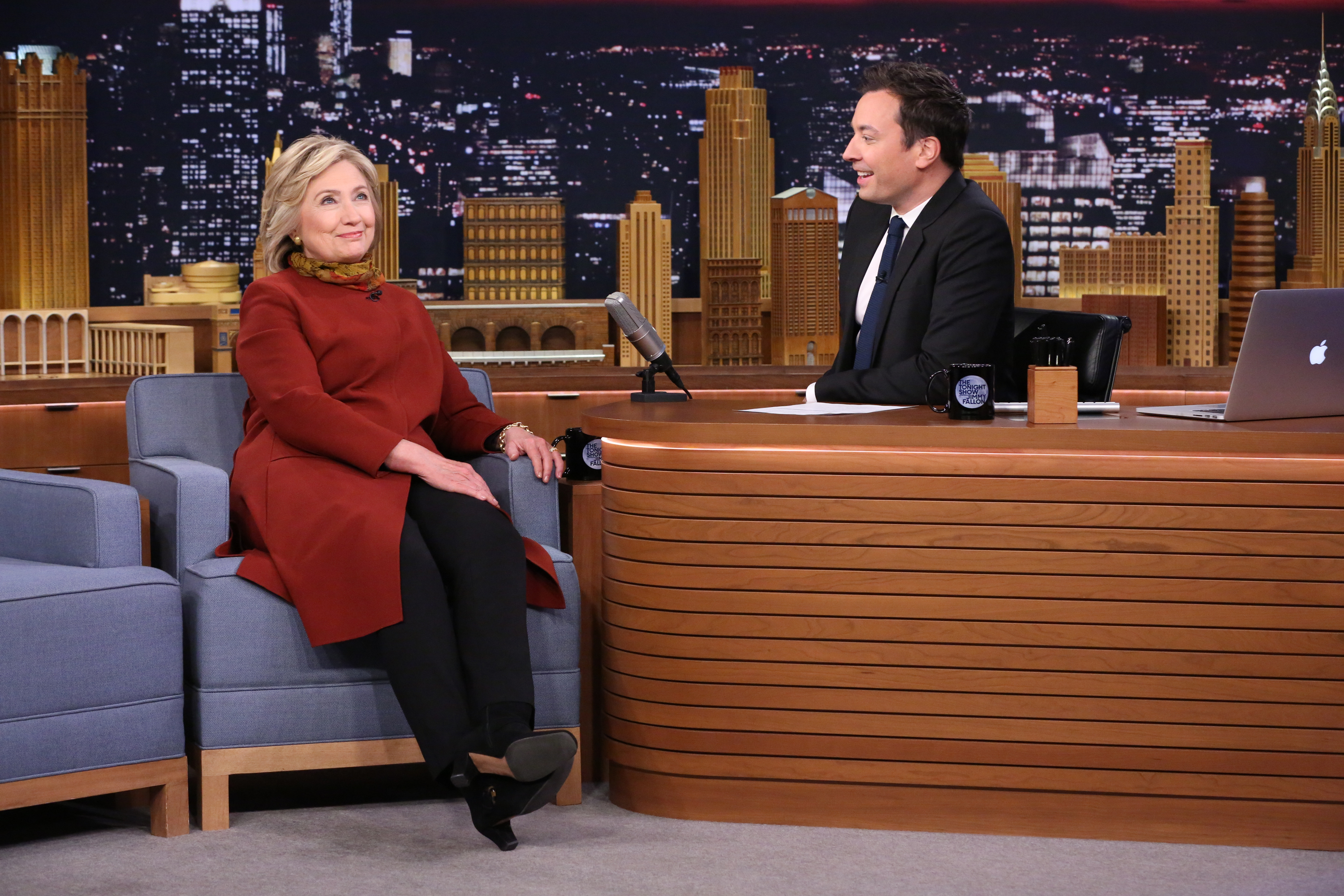 Presidential Candidate Hillary Clinton during an interview with host Jimmy Fallon on Jan. 14, 2016