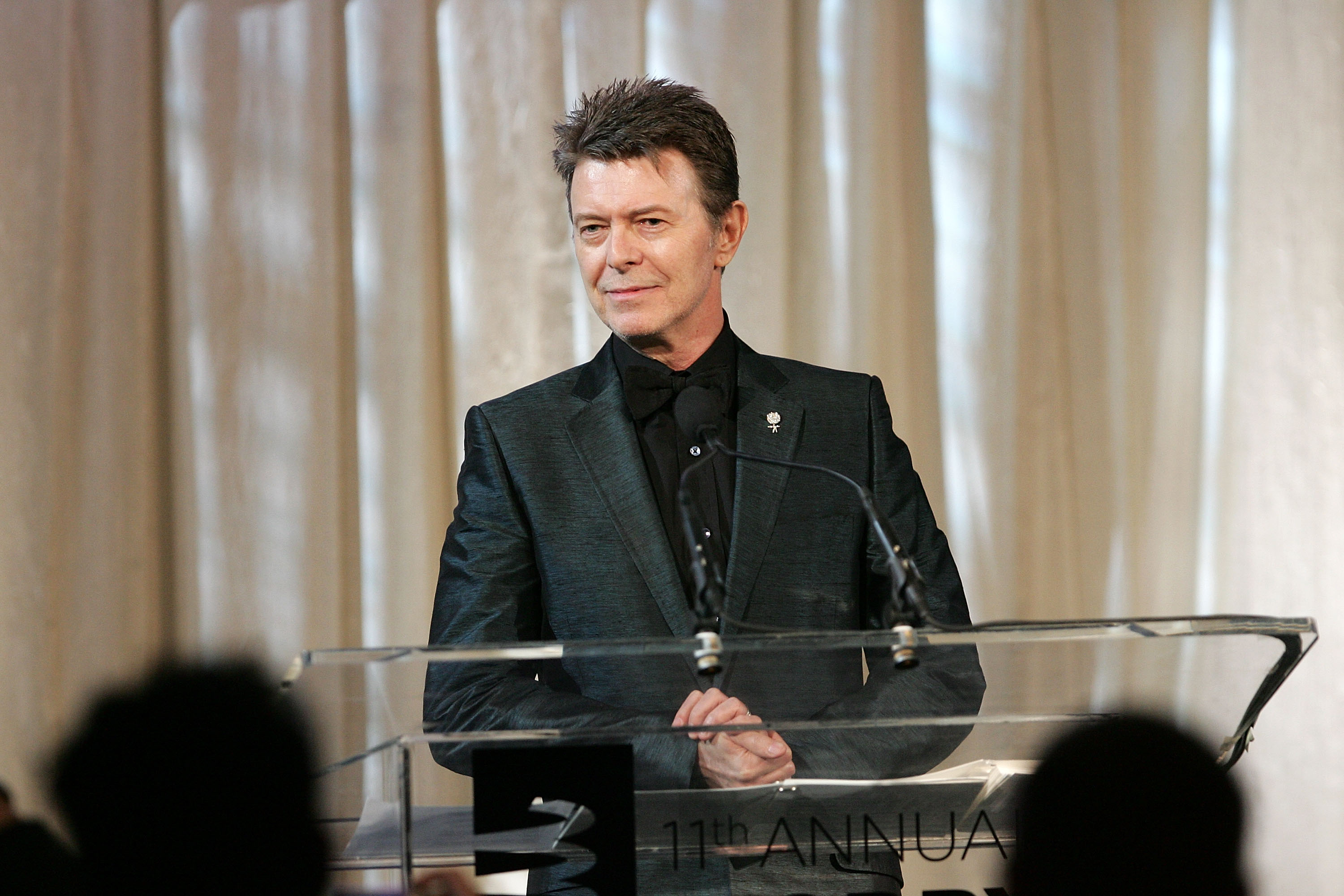 Musician David Bowie speaks onstage while accepting the Webby Lifetime Achievement award at the 11th Annual Webby Awards une 5, 2007.