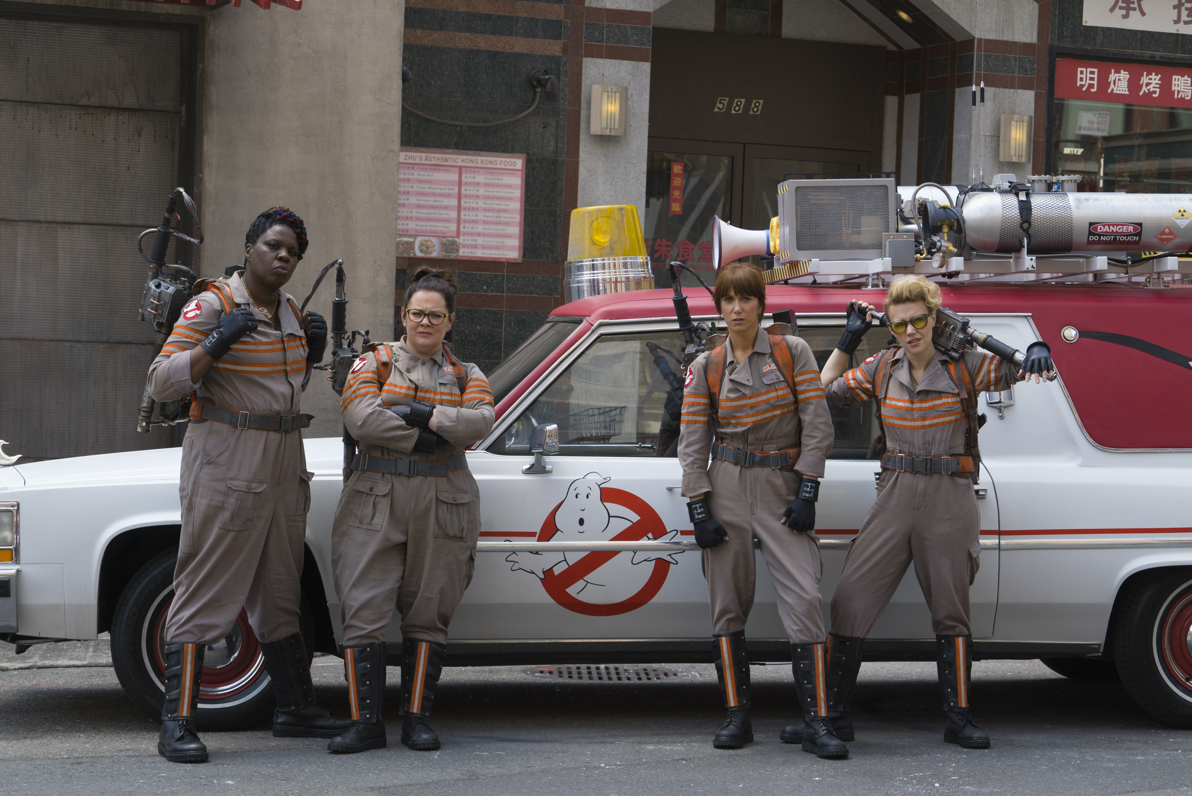 Leslie Jones, Melissa McCarthy, Kristen Wiig and Kate Mckinnon in  Ghostbusters.