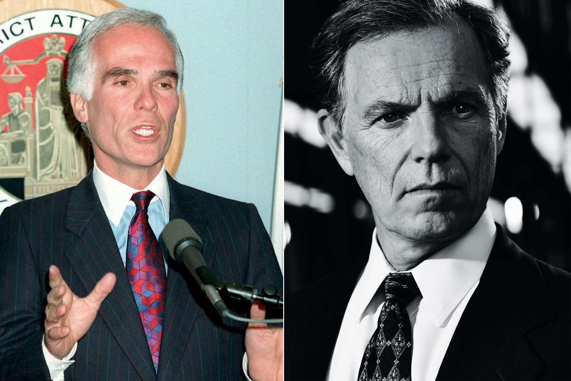 Left: Los Angeles District Attorney Gil Garcetti; Right: Bruce Greenwood.