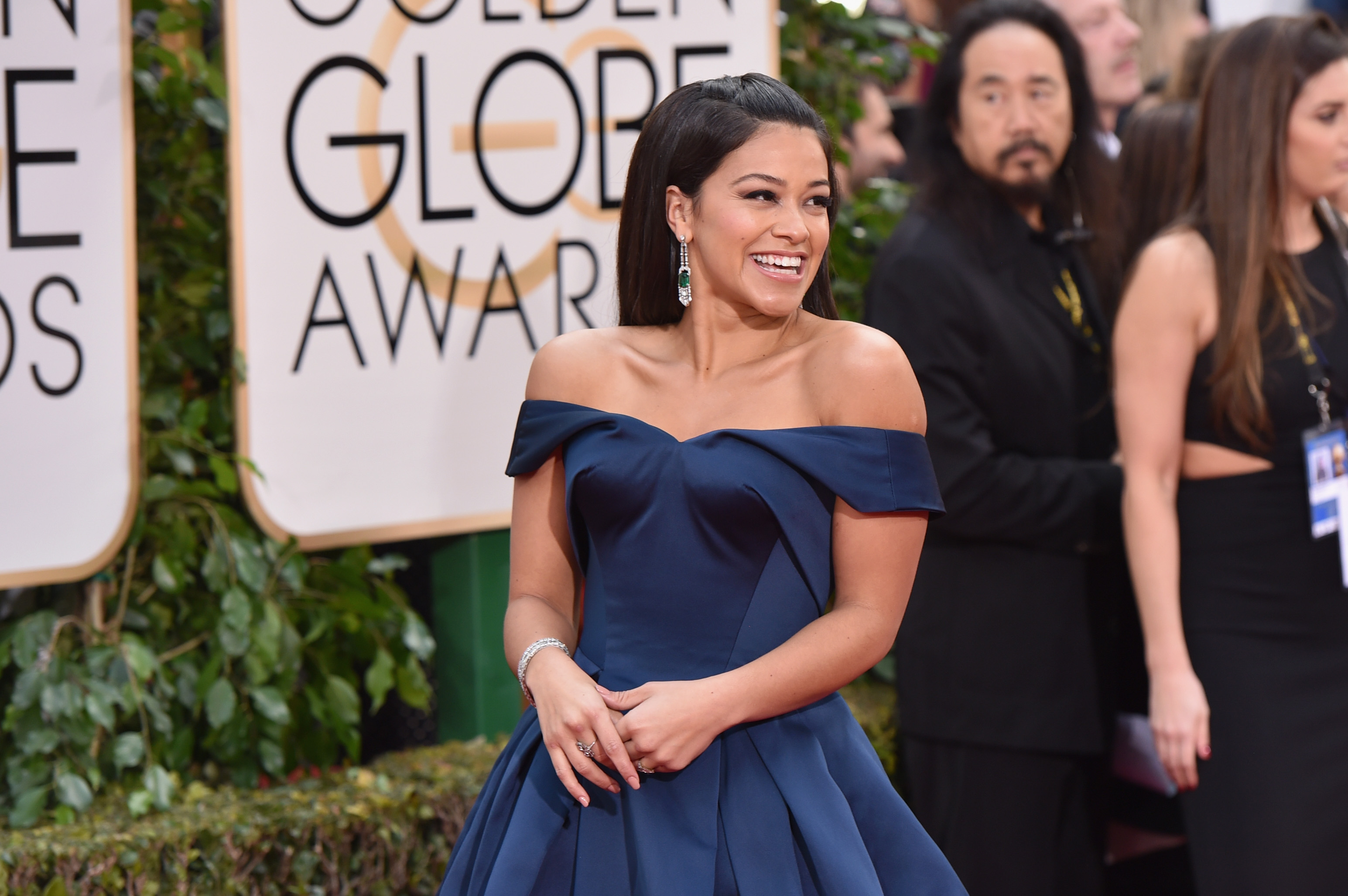 Actress Gina Rodriguez attends the 73rd Annual Golden Globe Awards held at the Beverly Hilton Hotel on January 10, 2016 in Beverly Hills, California.