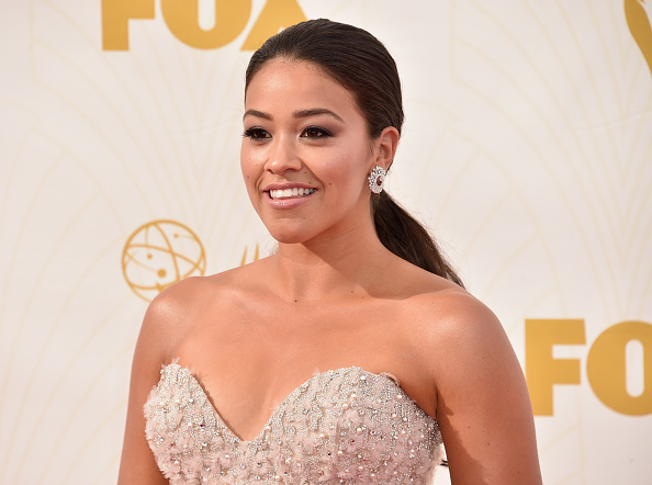Actress Gina Rodriguez attends the 67th Emmy Awards at Microsoft Theater on September 20, 2015 in Los Angeles, California.
