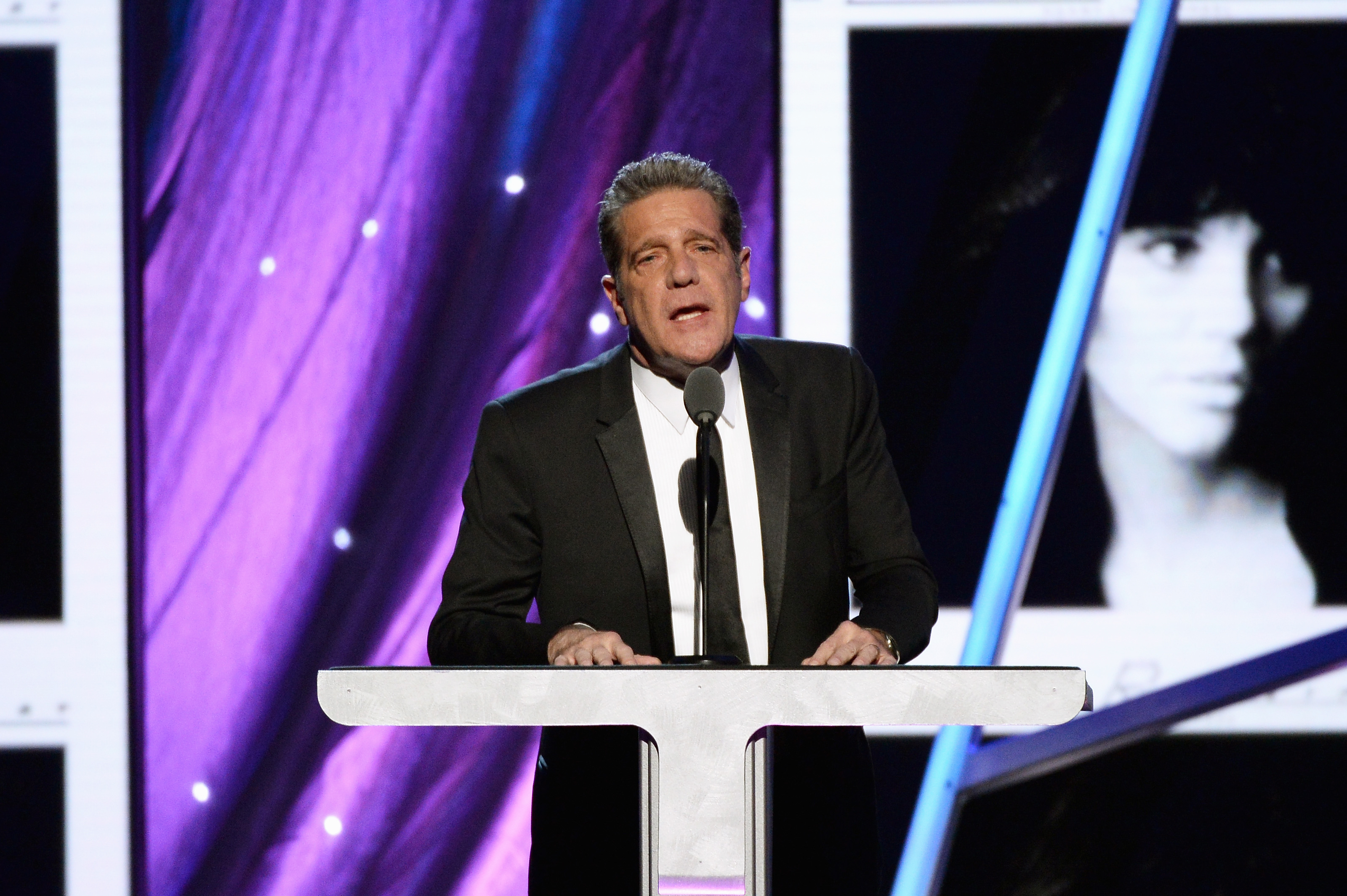 Glenn Frey speaks onstage, inducting Linda Ronstadt into the Rock And Roll Hall Of Fame, at Barclays Center in Brooklyn on April 10, 2014.