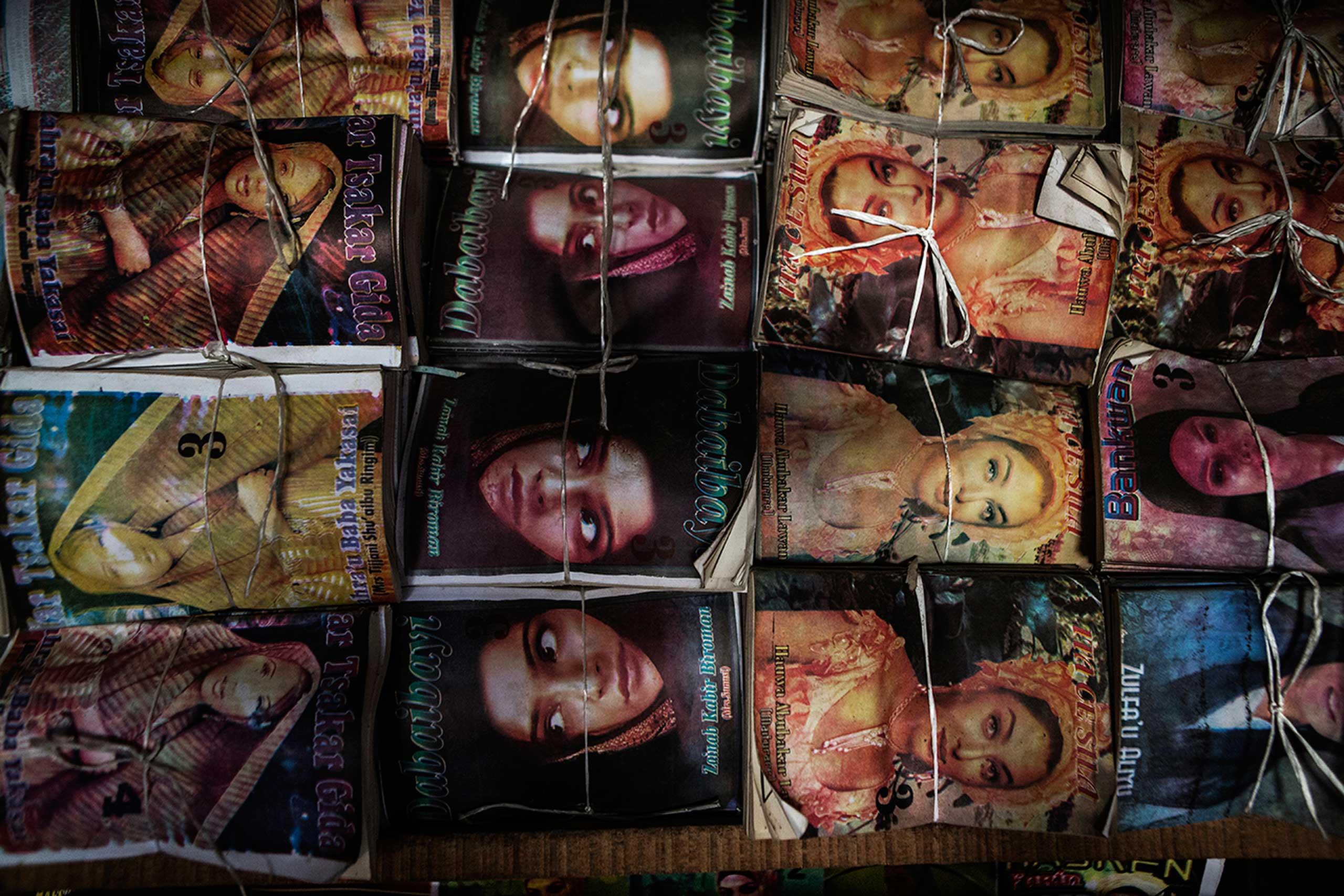 Books are tied and packaged at the local market in Kano, Northern Nigeria, Oct. 4, 2013.