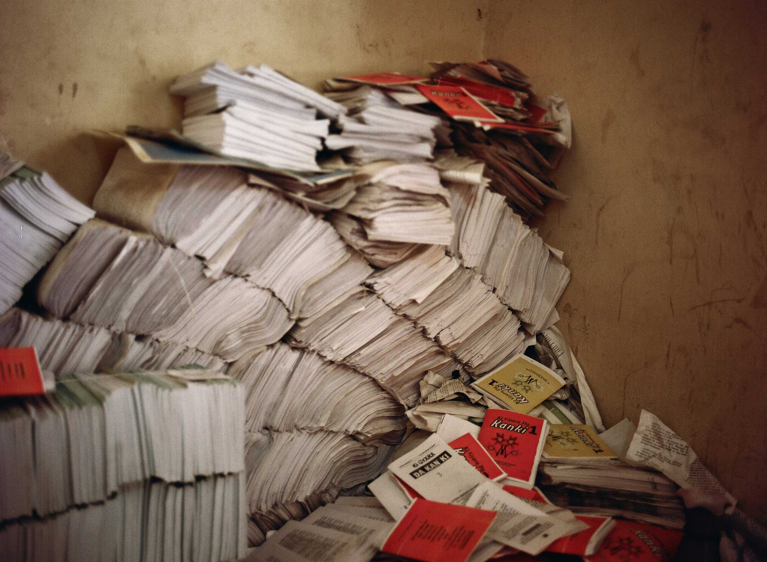 Piles of books are stacked up before they are taken to the market to be sold, Kano, Northern Nigeria. April 8, 2013.
