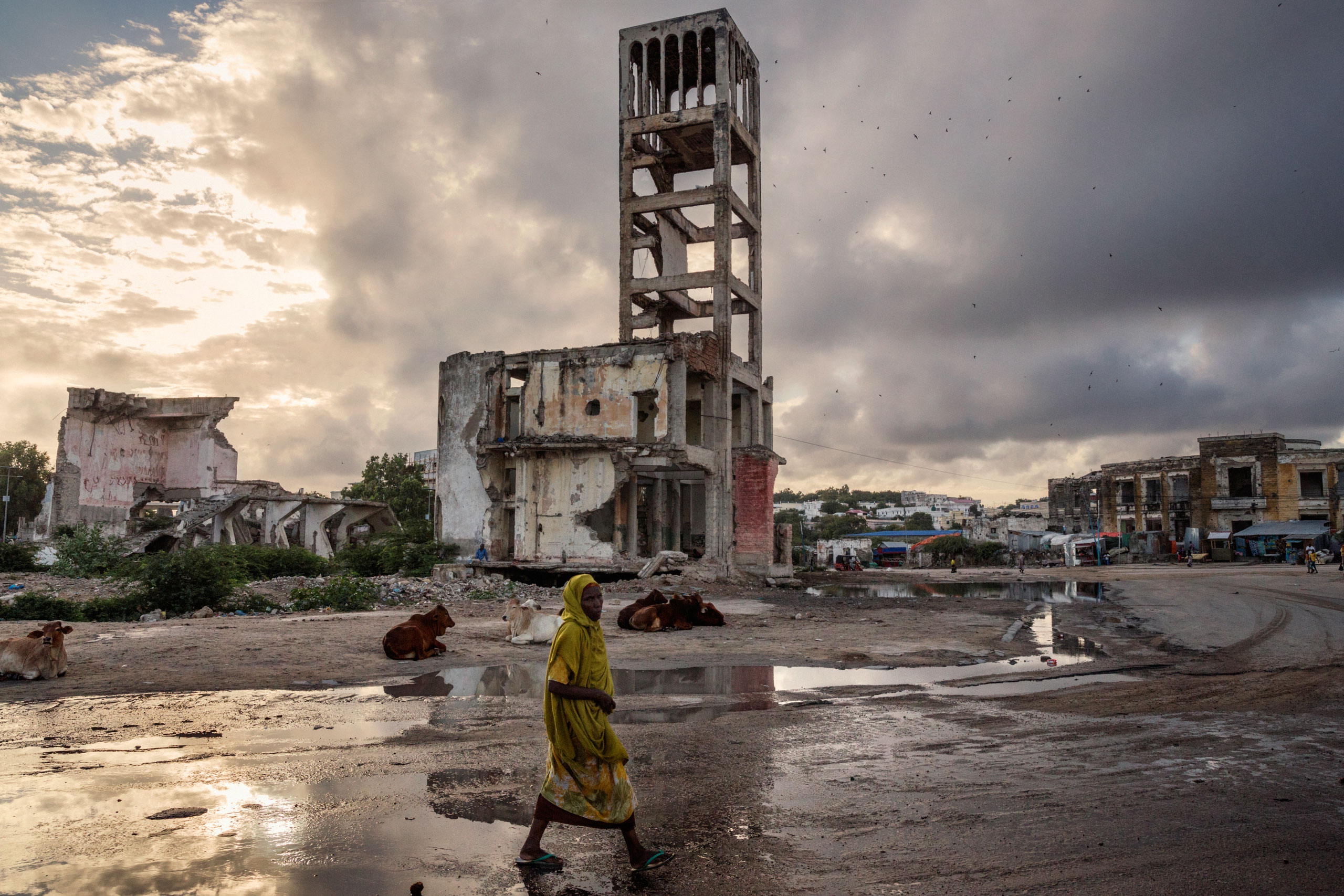 The destroyed structure of the old parliament in the Hamar Weyne district, in the southeastern Banaadir region of Somalia. Mogadishu is a city at a crossroads: On one side the asymmetrical strategy of terror by Al-Shabaab, and on the other the desire of Somalis to return to normal life. Mogadishu, Somalia. October 19, 2015.