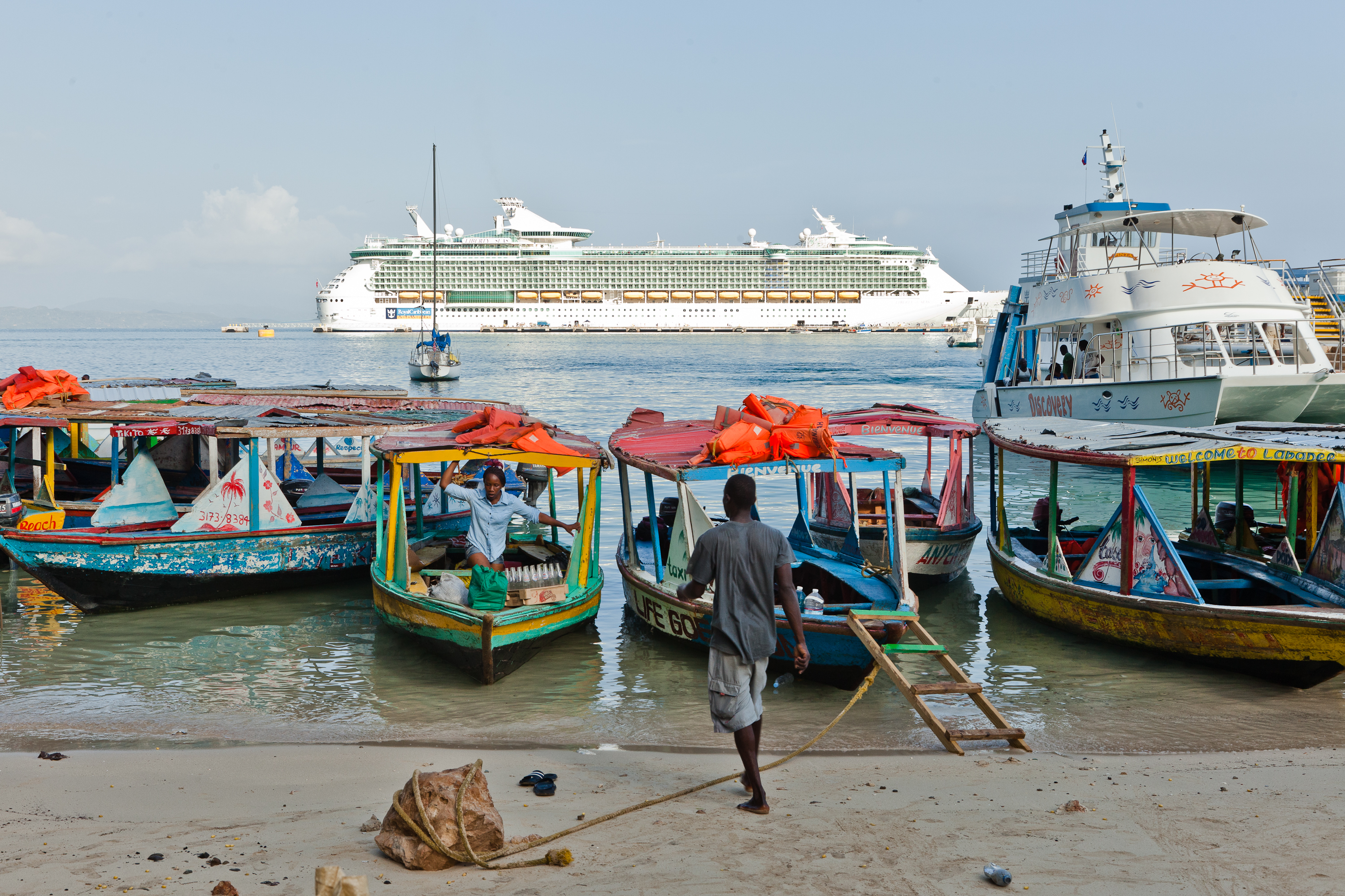 A Royal Caribbean cruise ship seen from the village of Labadie, Haiti, on July 22, 2015.