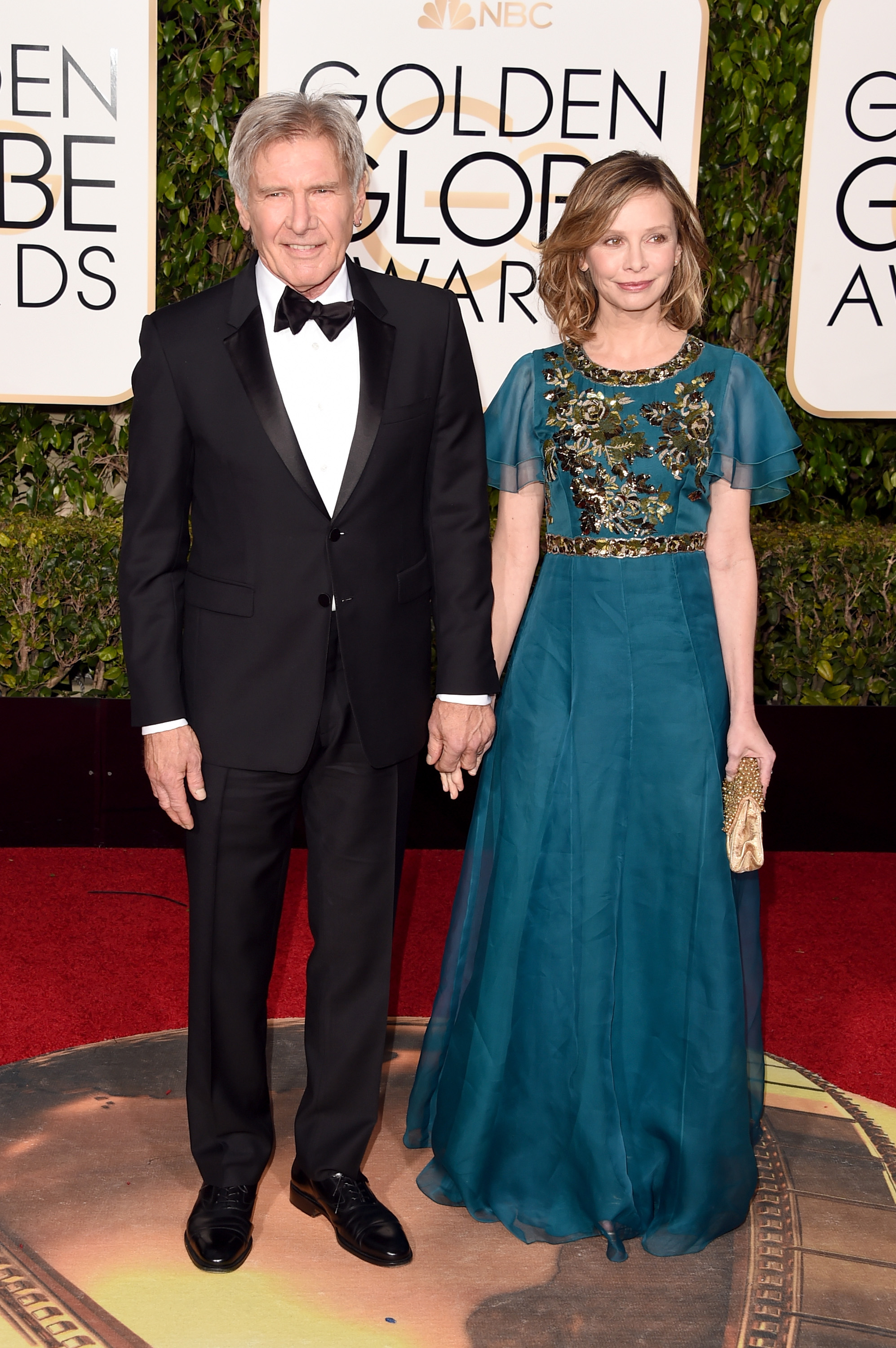 Harrison Ford and Calista Flockhart arrive to the 73rd Annual Golden Globe Awards on Jan. 10, 2016 in Beverly Hills.