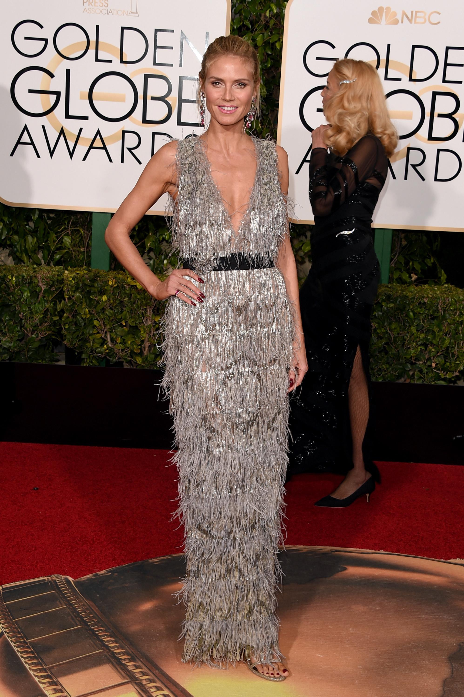 Heidi Klum arrives to the 73rd Annual Golden Globe Awards on Jan. 10, 2016 in Beverly Hills.