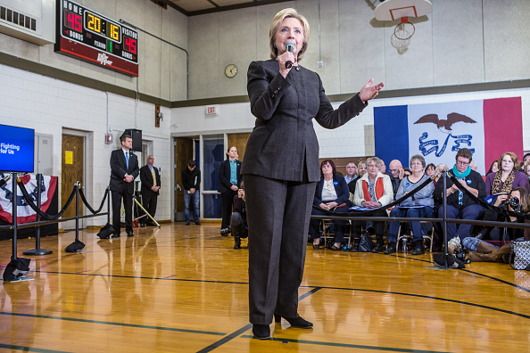 Democratic presidential candidate Hillary Clinton speaks at a campaign event on January 25, 2016 in Knoxville, Iowa.