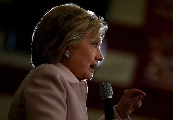 Democratic presidential candidate Hillary Clinton speaks during a  get out the caucus  event at Grand View University on January 29, 2016 in Des Moines, Iowa.