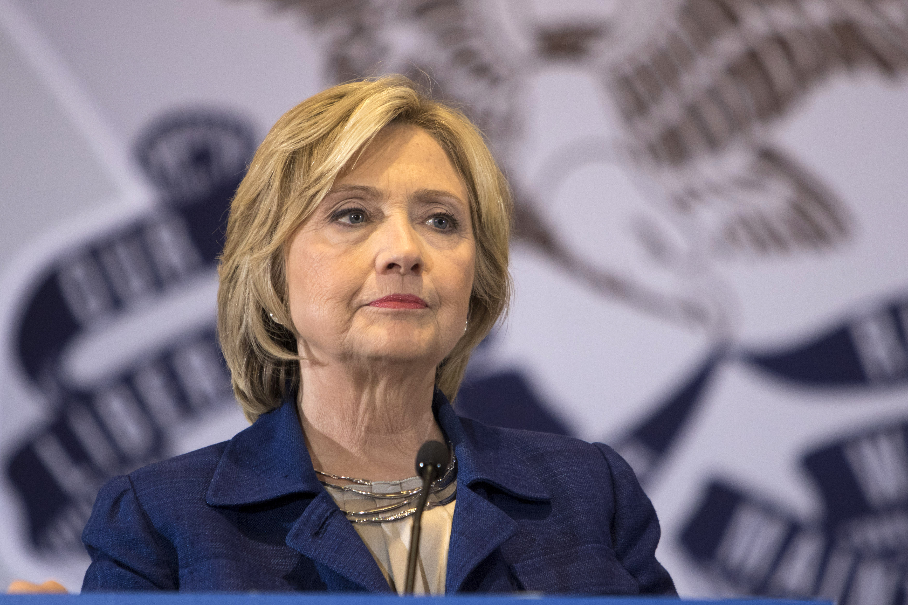Democratic presidential candidate Hillary Rodham Clinton listens to a question from the media following an organizing event at the University of Northern Iowa in Cedar Falls.