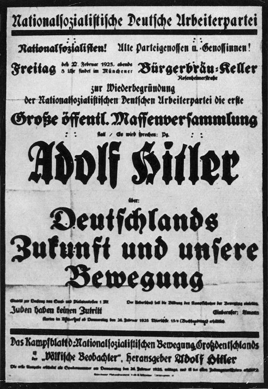 A poster advertising a meeting in Munich where Adolf Hitler will address the party faithful, on Feb. 27, 1925