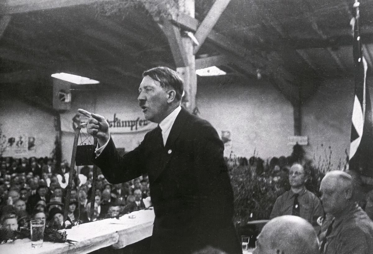 Adolf Hitler giving a speech, circa 1925