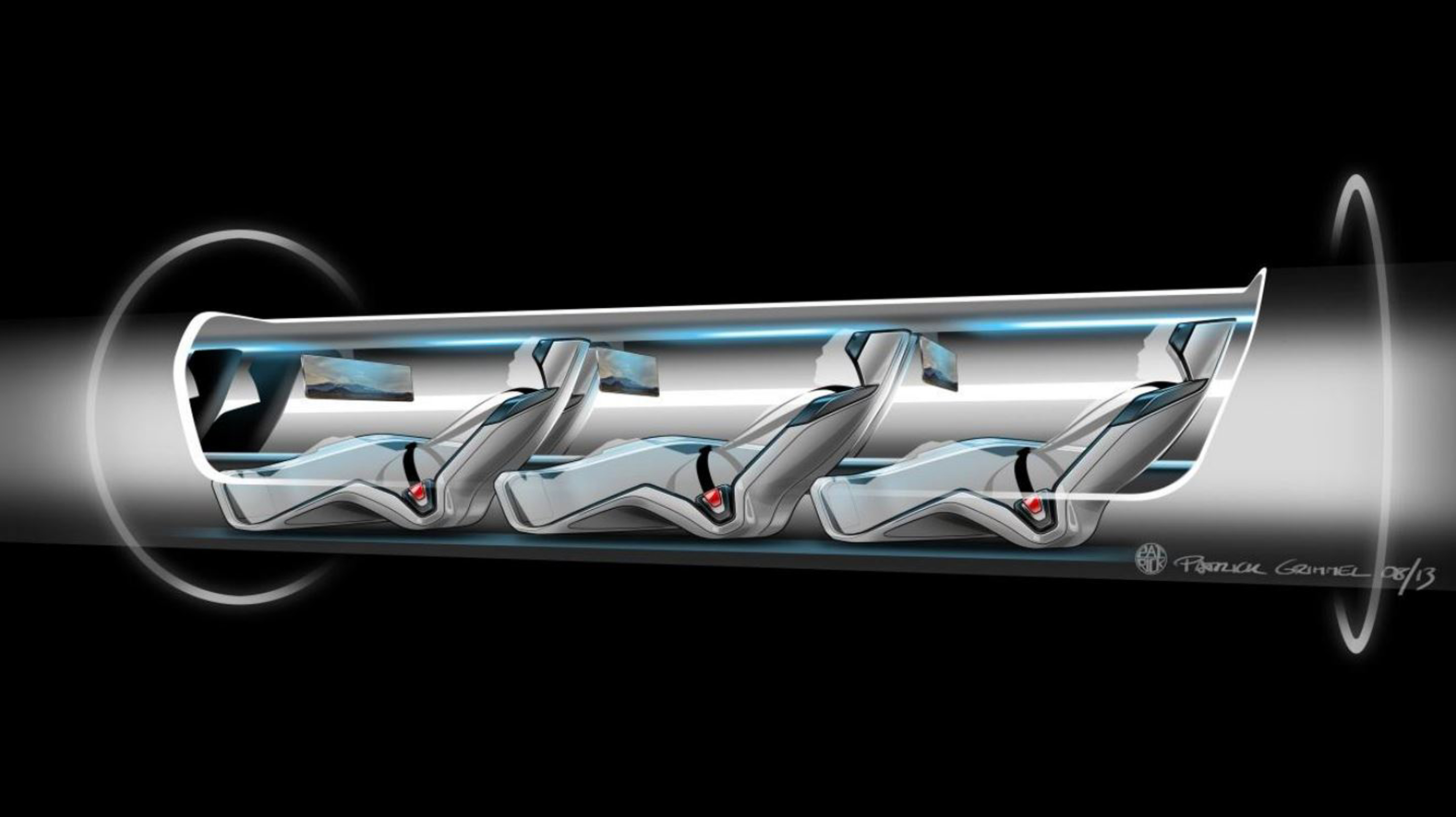 A conceptual design file rendering shows a Hyperloop passenger transport capsule.