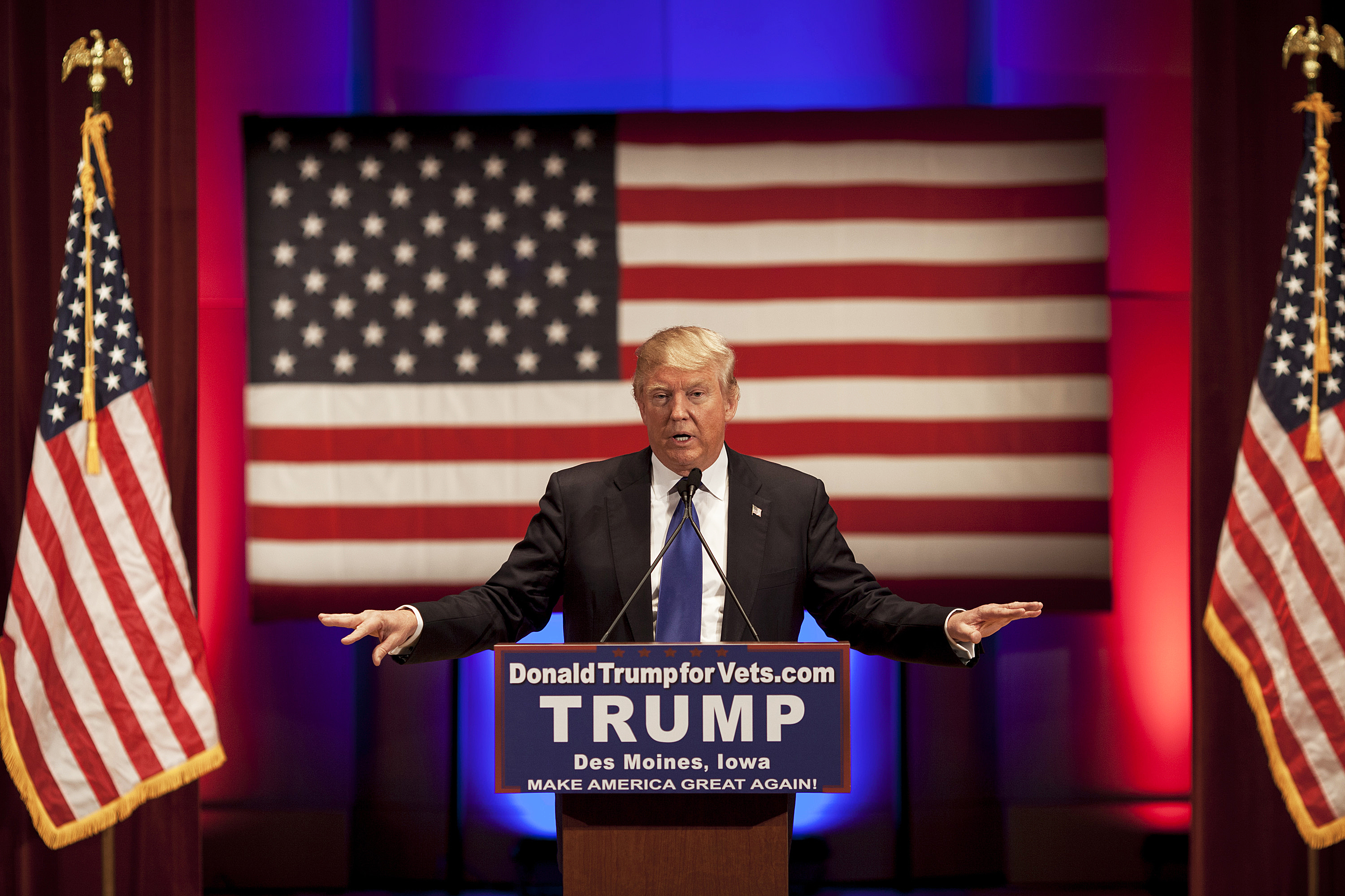 Donald Trump speaks at a rally for veterans in Des Moines, Iowa on Jan. 28, 2016.