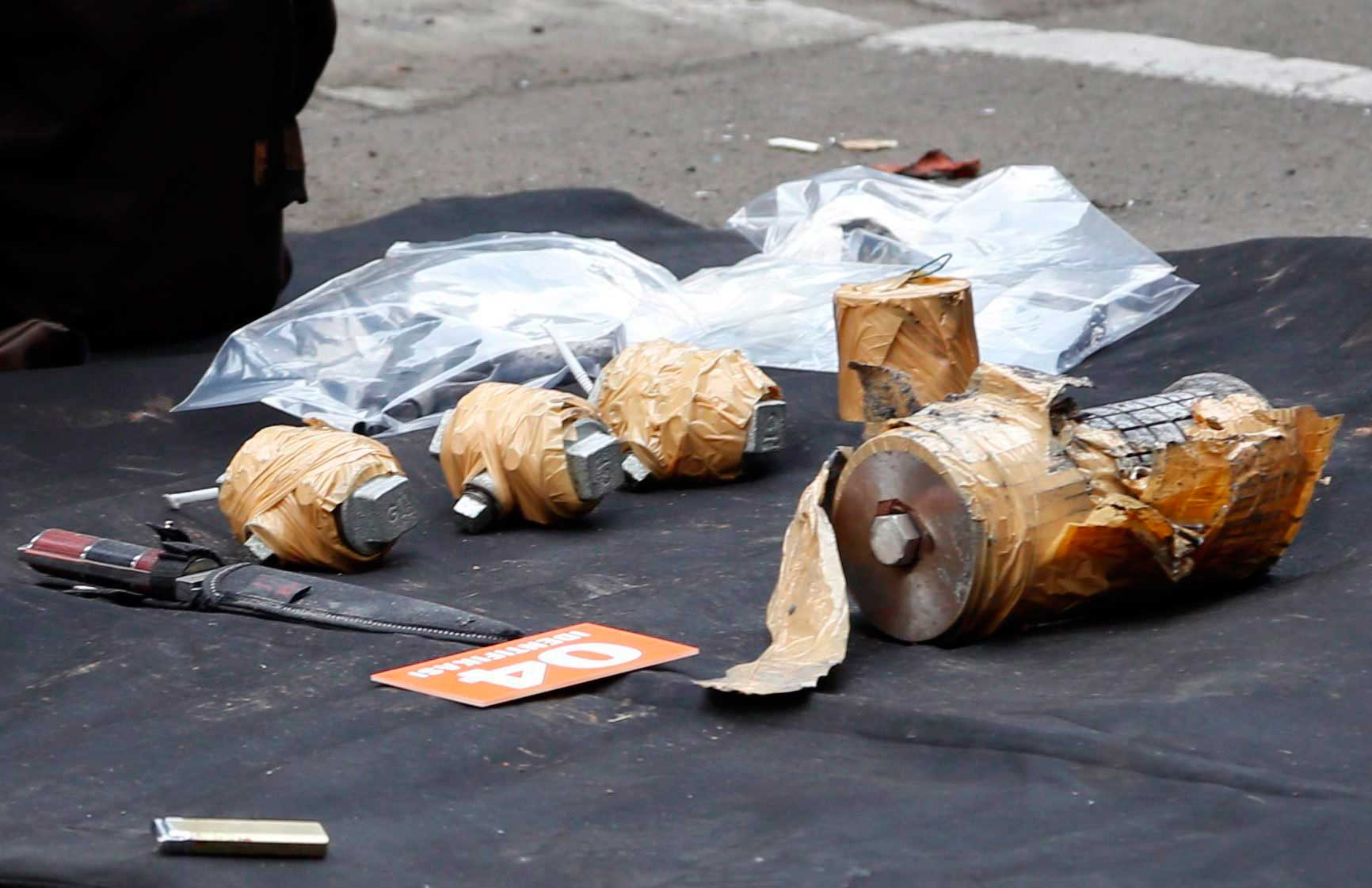 The weapons arsenal that suspected terrorists were carrying after a bomb blast in front of a shopping mall in Jakarta, Indonesia, Jan. 14, 2016. Assailants struck outside a Starbucks cafe and a police post near the well-known Sarinah shopping complex.