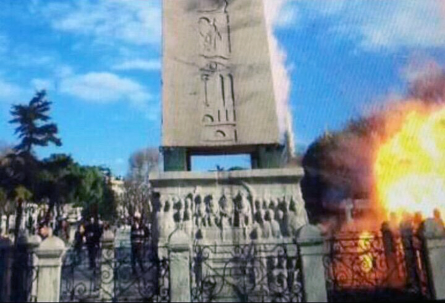 This image made from footage on a tourist's camera shows an explosion at Sultanahmet Square near the historical Roman obelisk in Istanbul, Turkey, Jan. 12, 2016.