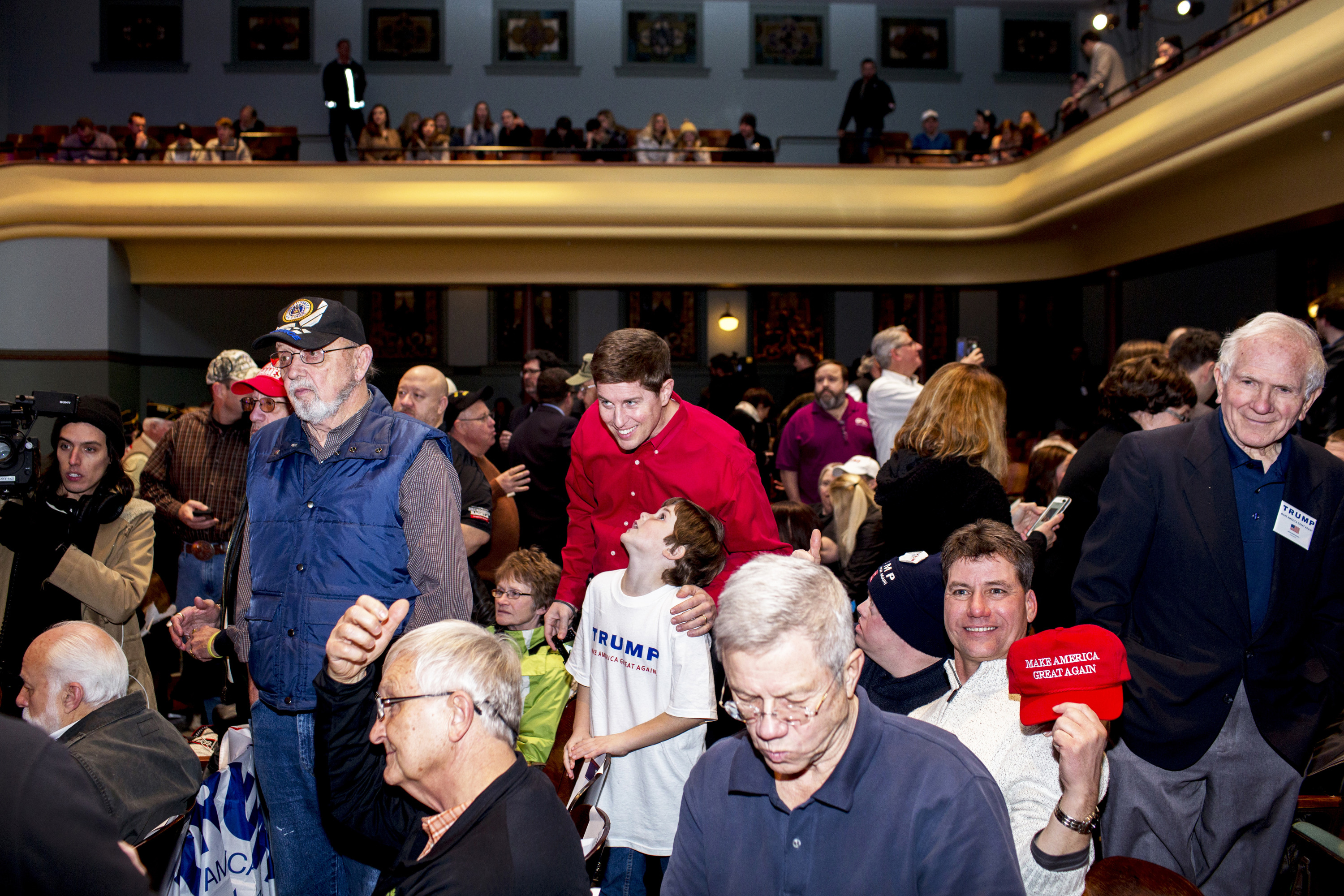 Attendees at a Donald Trump rally in Des Moines, Iowa on Jan. 28, 2016.