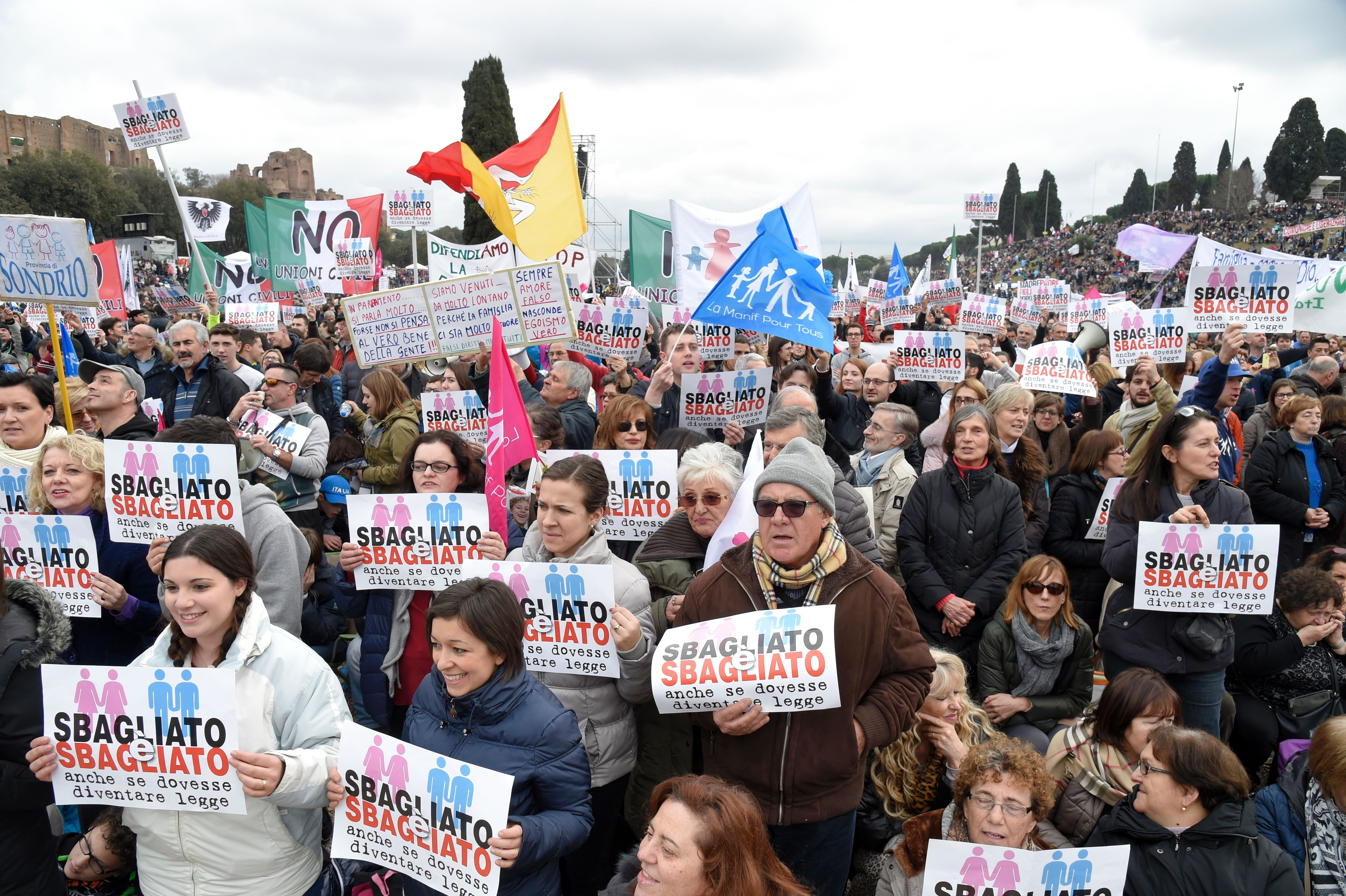Thousands of demonstrators holding placards reading  wrong and wrong  take part in the Family Day rally at the Circo Massimo in central Rome, on Jan. 30, 2016.