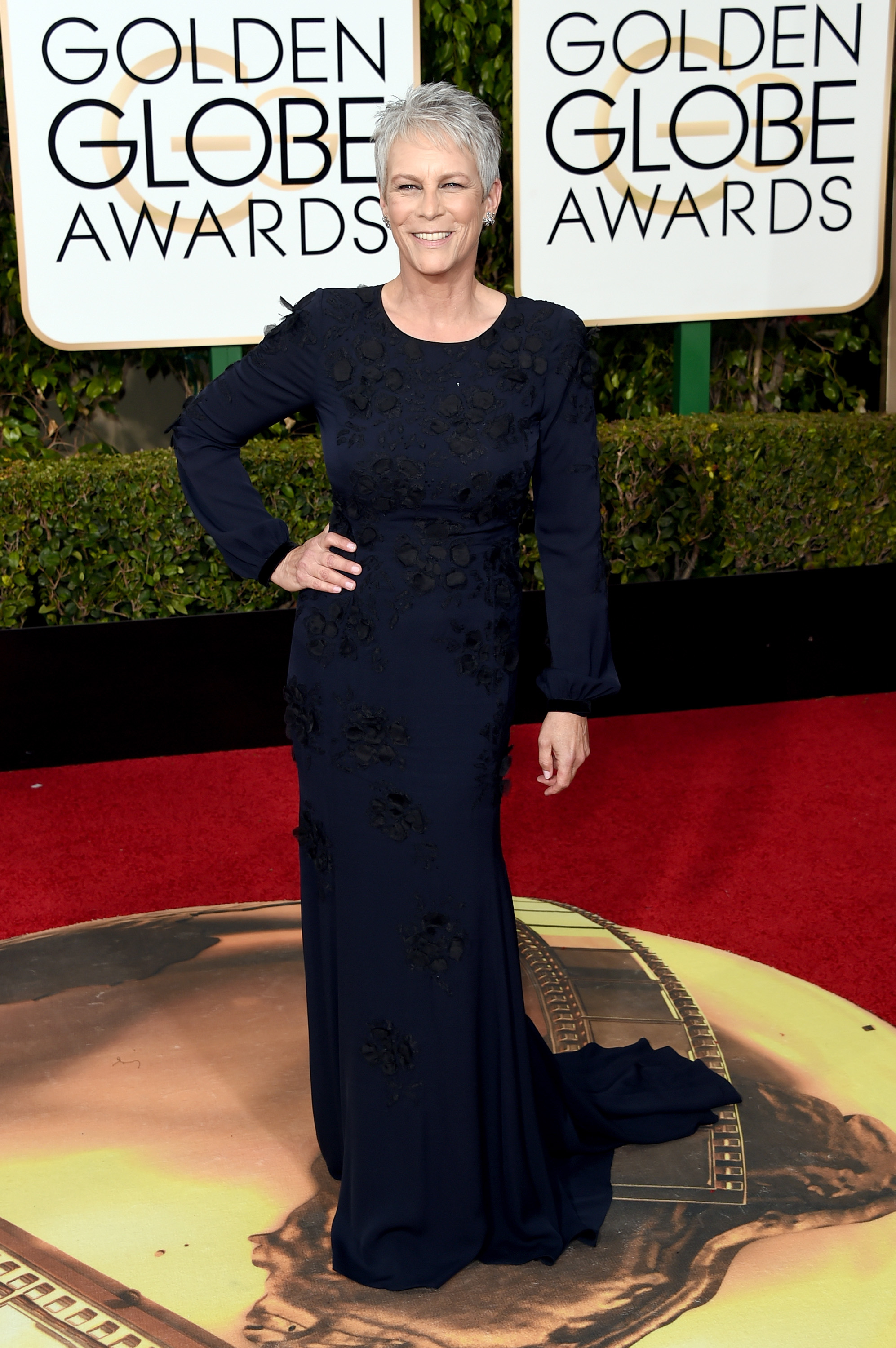 Jamie Lee Curtis arrives to the 73rd Annual Golden Globe Awards on Jan. 10, 2016 in Beverly Hills.
