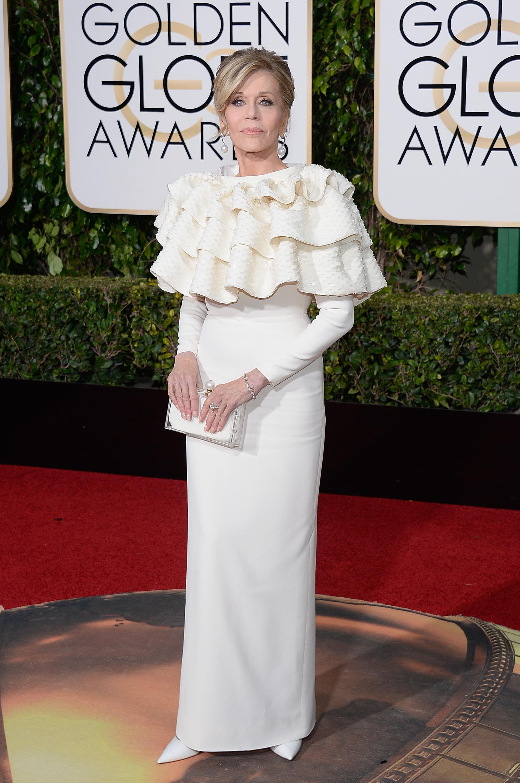 Jane Fonda arrives to the 73rd Annual Golden Globe Awards on Jan. 10, 2016 in Beverly Hills.