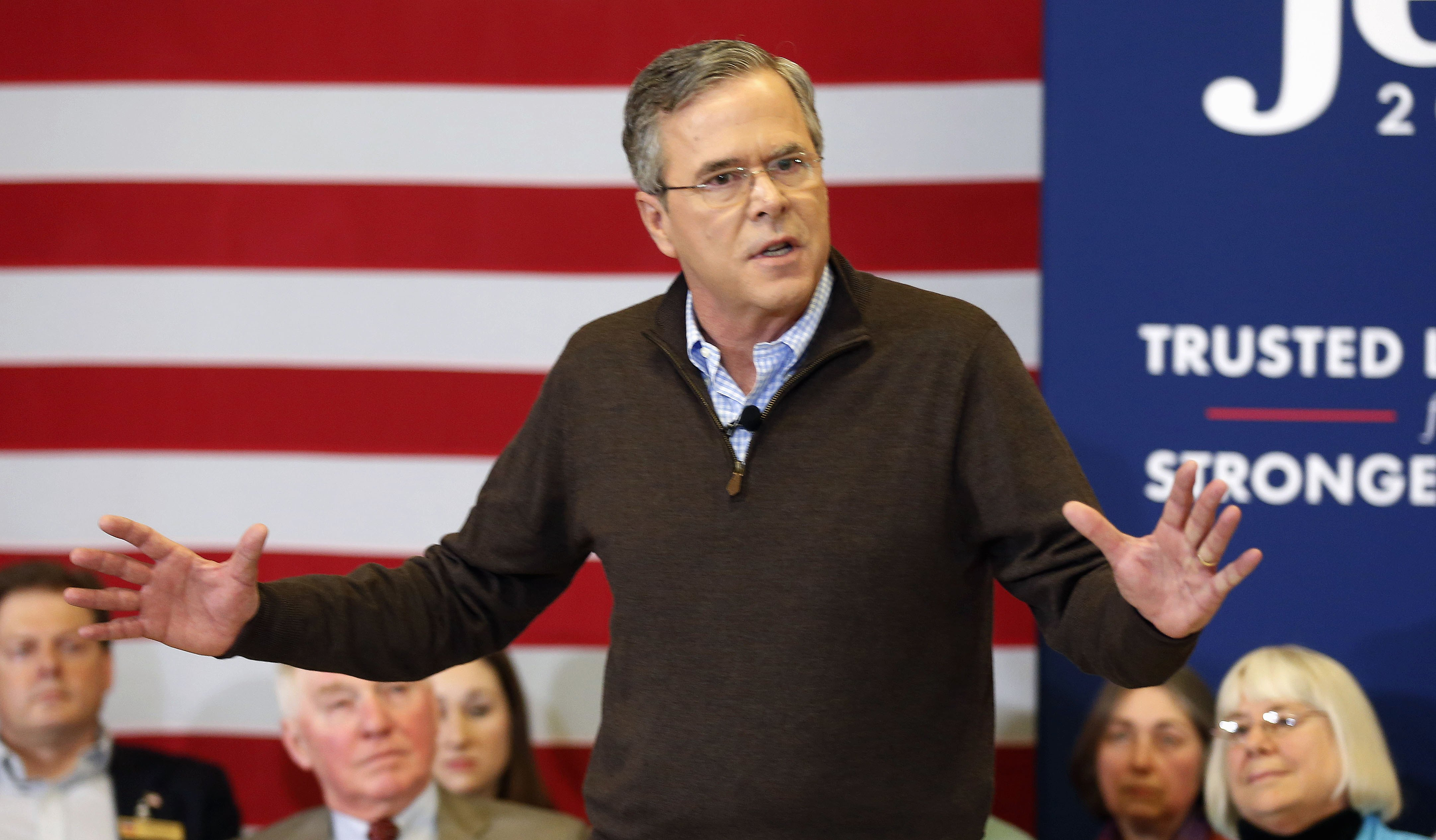 Jeb Bush speaks during a campaign stop at Souhegan High School, on Jan. 16, 2016, in Amherst, NH.