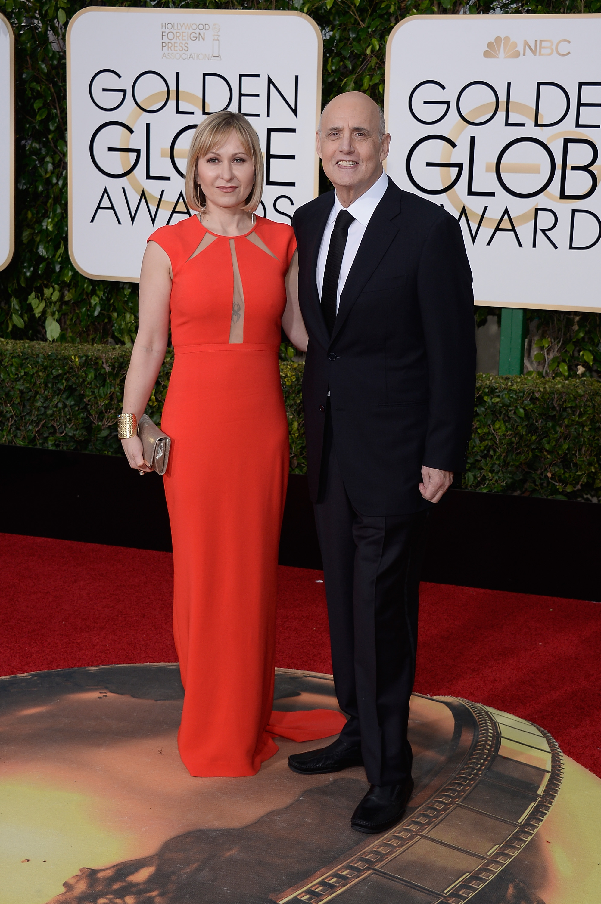 Kasia Ostlun and Jeffrey Tambor arrive to the 73rd Annual Golden Globe Awards on Jan. 10, 2016 in Beverly Hills.