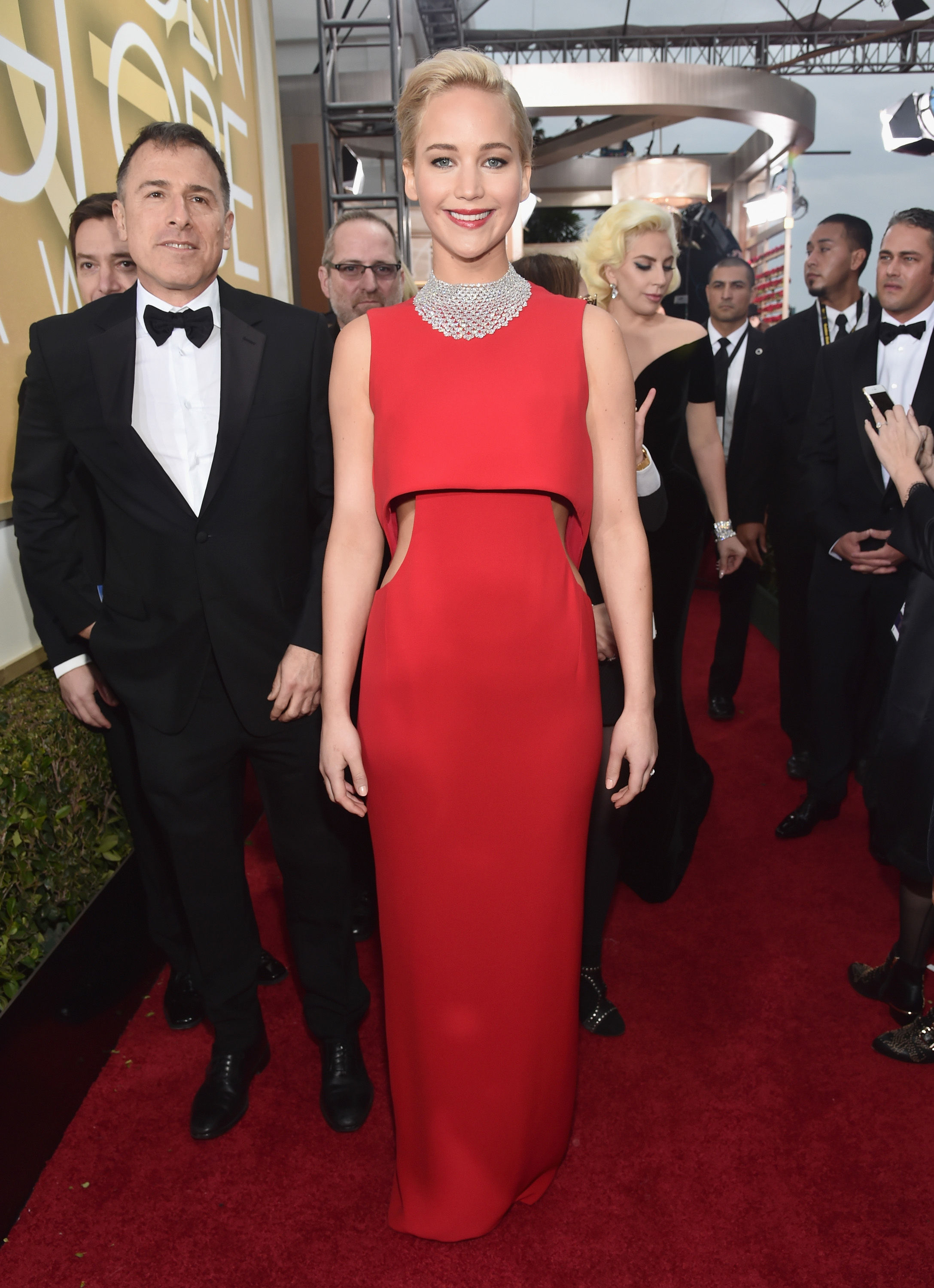Jennifer Lawrence arrives to the 73rd Annual Golden Globe Awards on Jan. 10, 2016 in Beverly Hills.