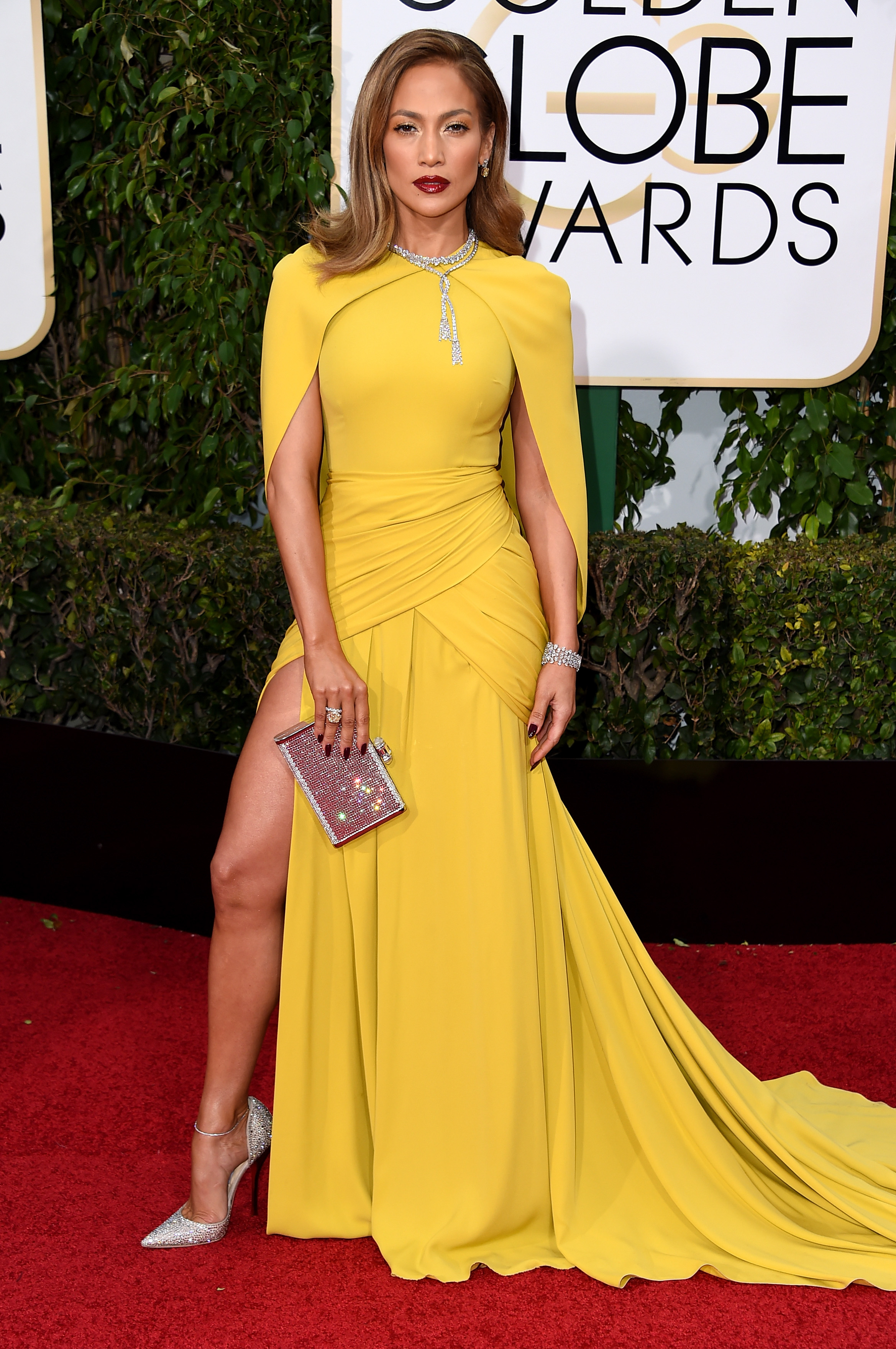 Jennifer Lopez arrives to the 73rd Annual Golden Globe Awards on Jan. 10, 2016 in Beverly Hills.